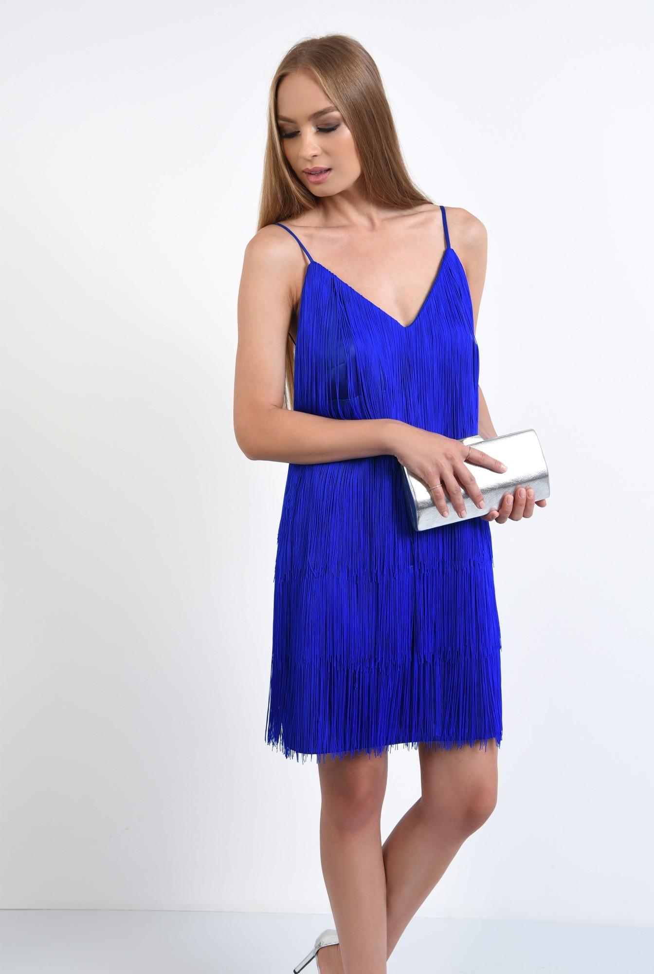 0 - 360 - rochie de seara albastra, cu frajuri, slip on, croi drept, anchior