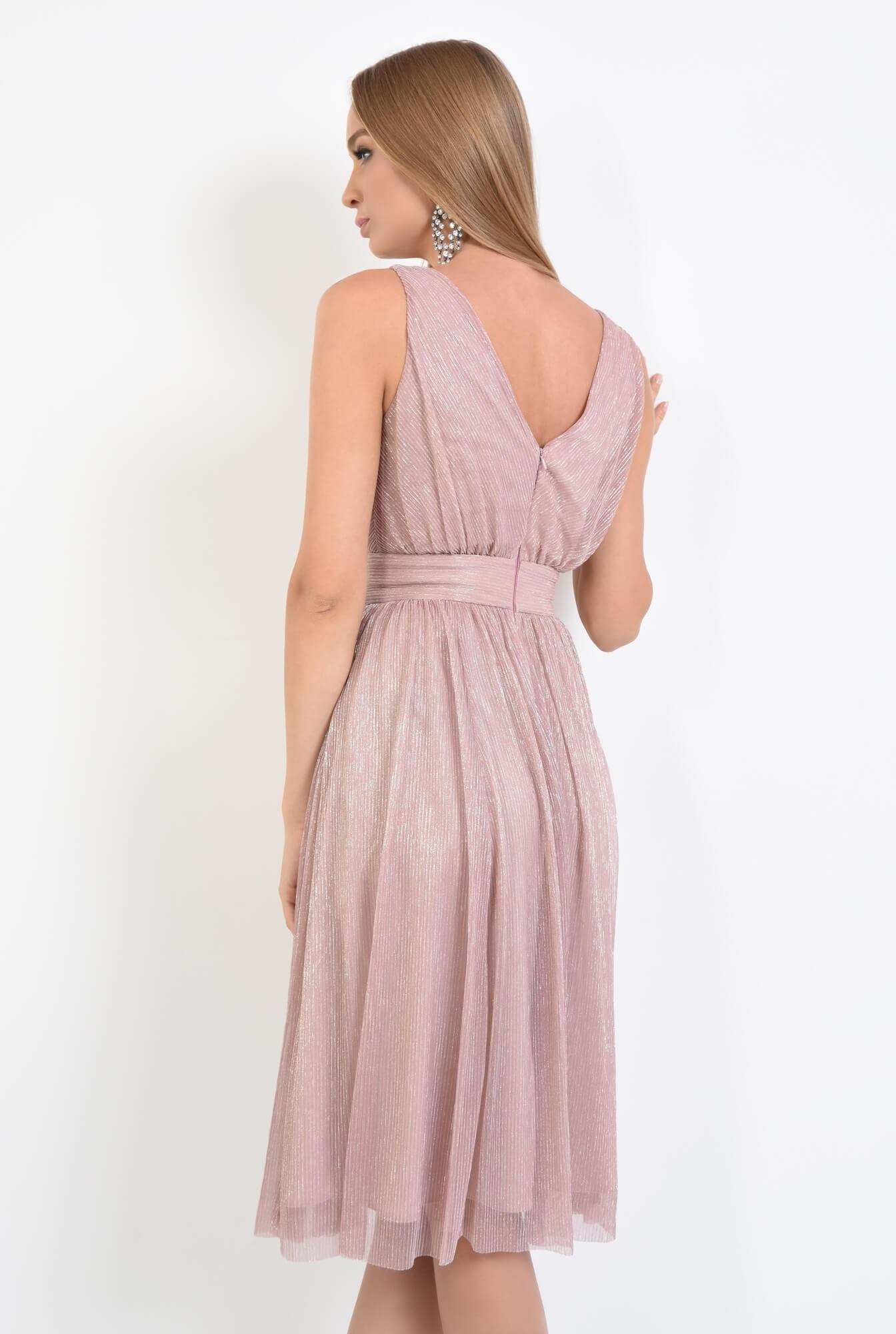 1 - rochie de seara, midi, clos, roz, lurex