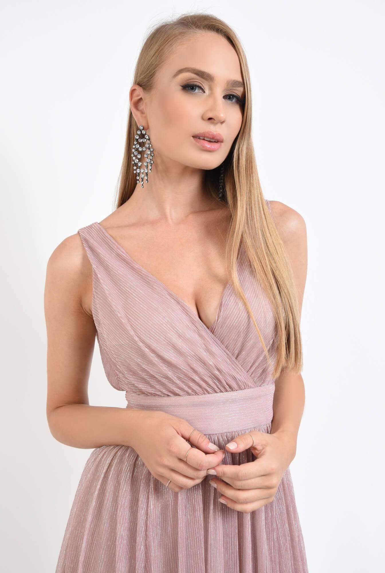 2 - rochie de seara, midi, clos, roz, lurex