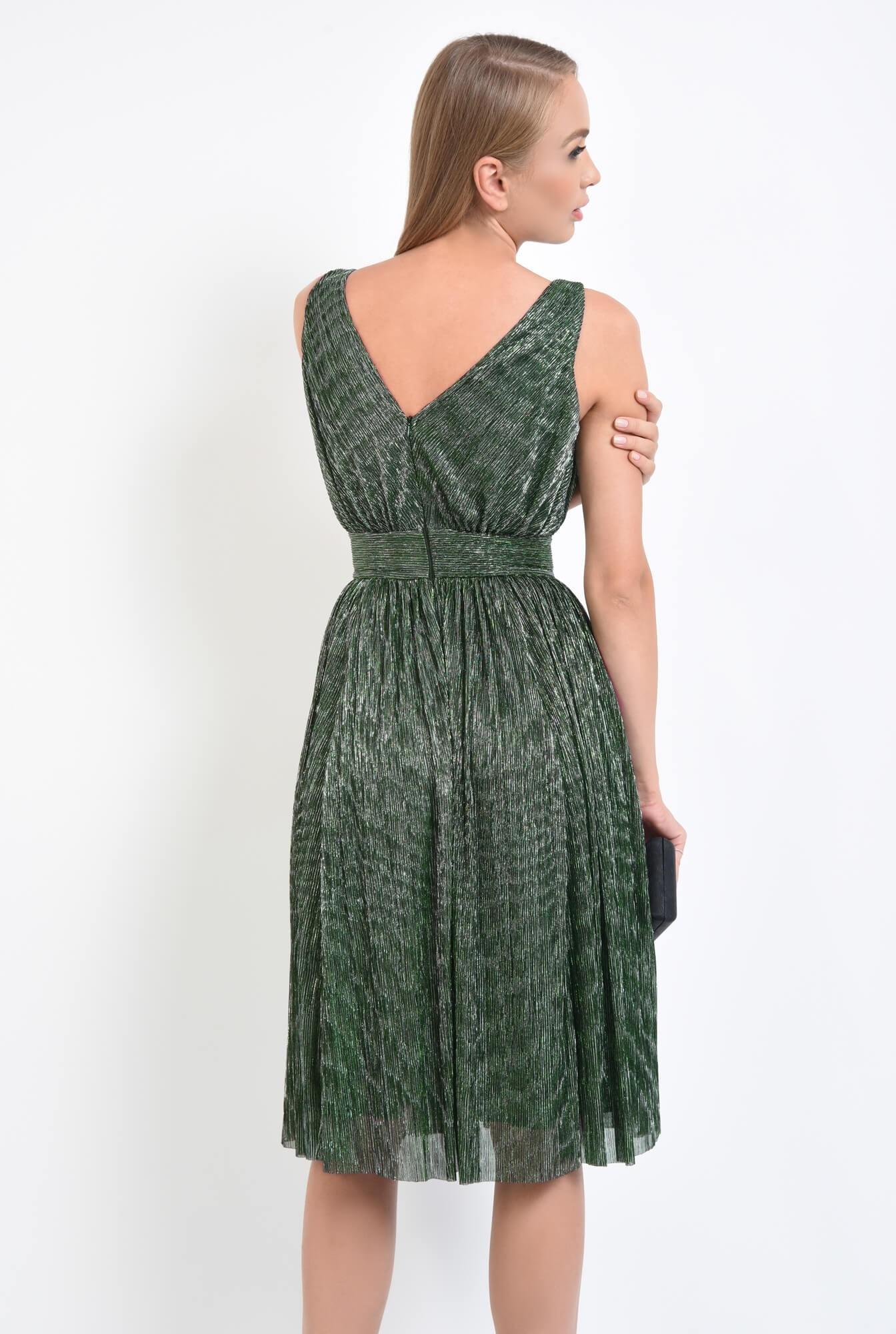 1 - rochie de seara, clos, betelie lata, decolteu anchior, verde