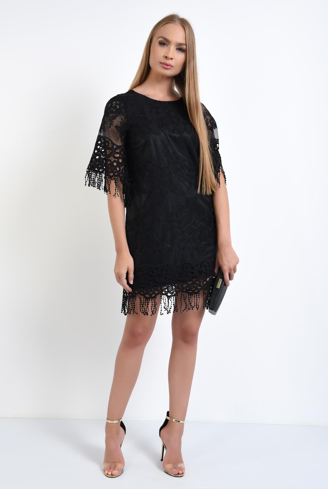 0 - rochie eleganta, dantela brodata, franjuri, rochii online