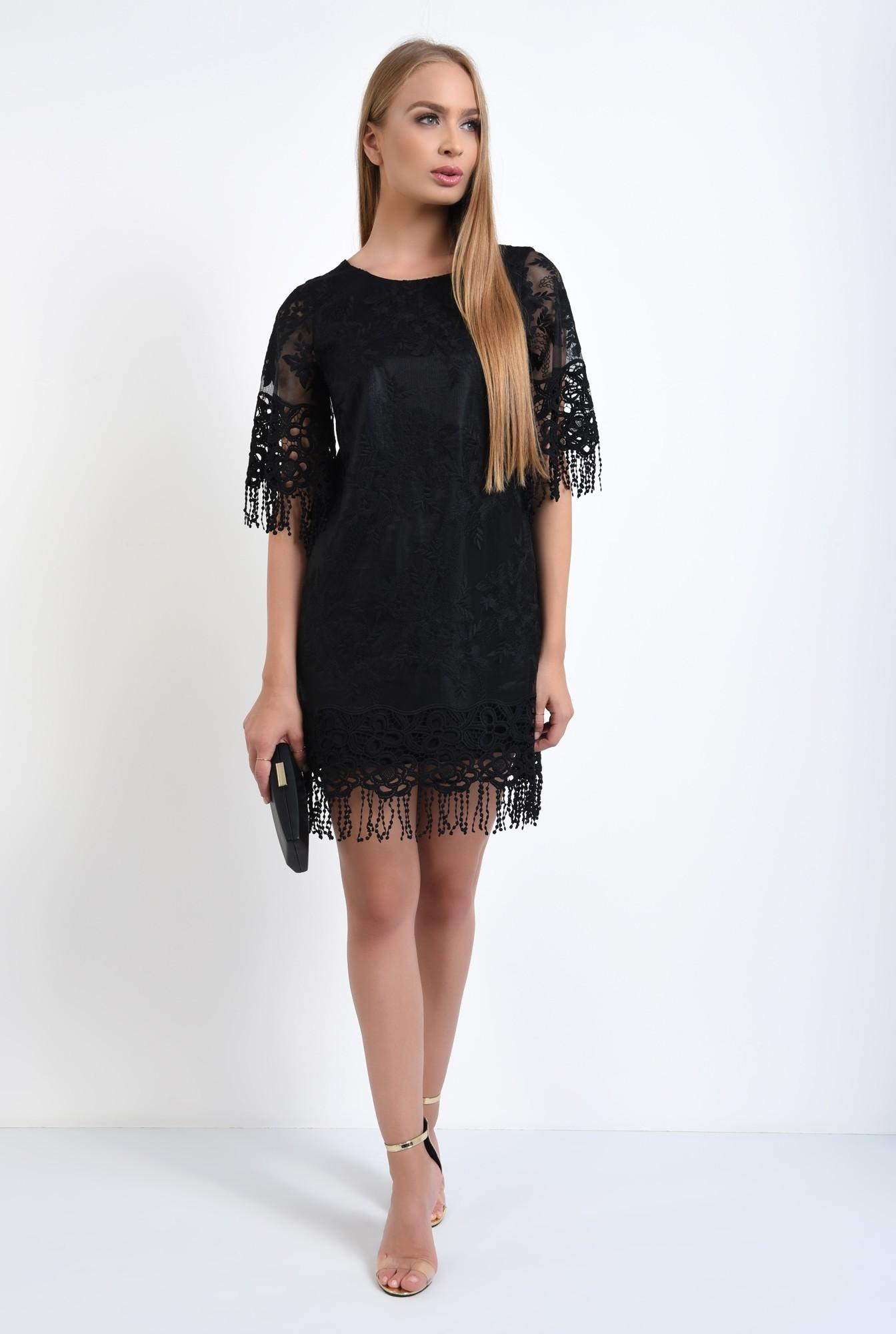3 - rochie eleganta, dantela brodata, franjuri, rochii online