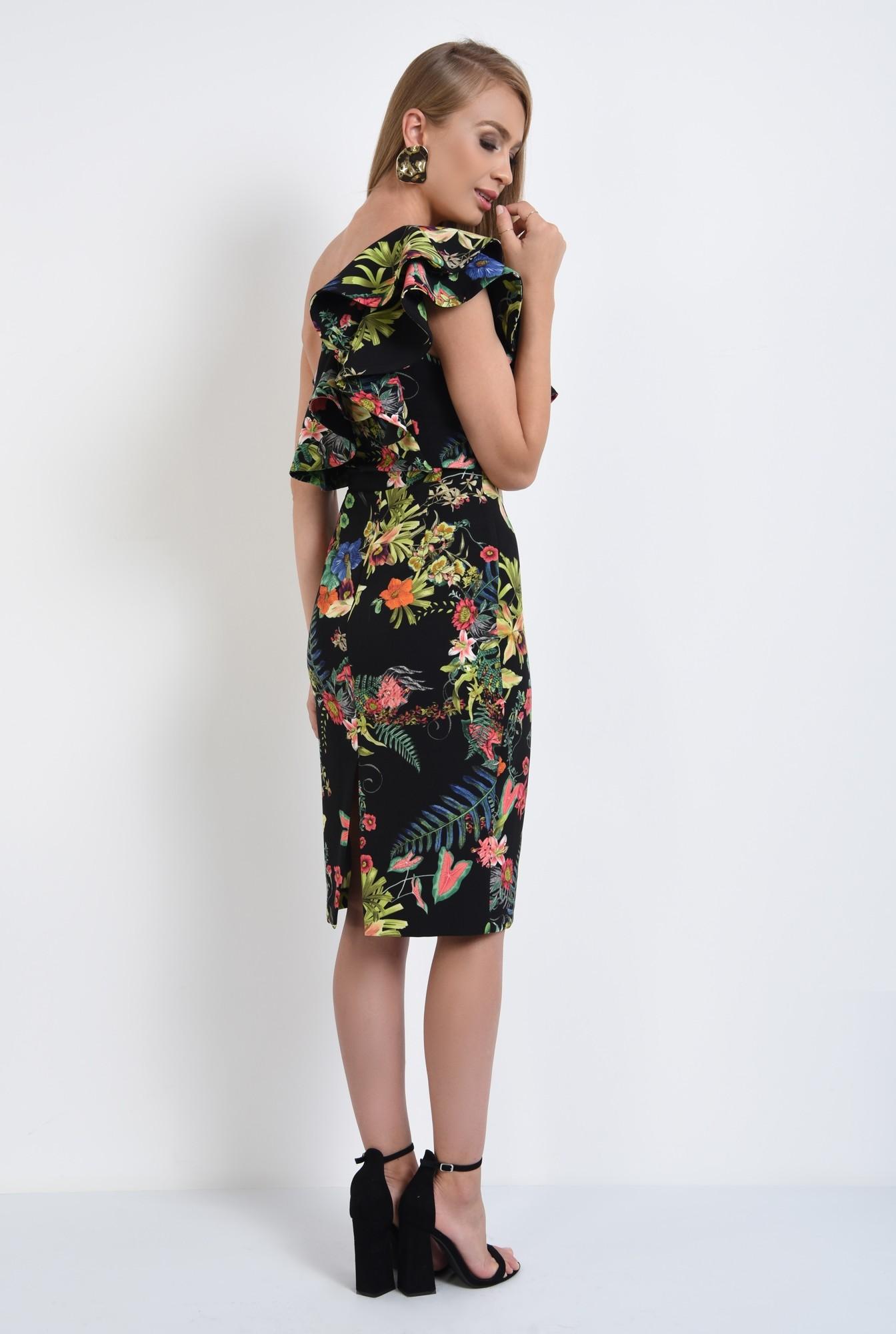 1 - 360 - rochii online, rochie cambrata, cu flori, umar dezgolit