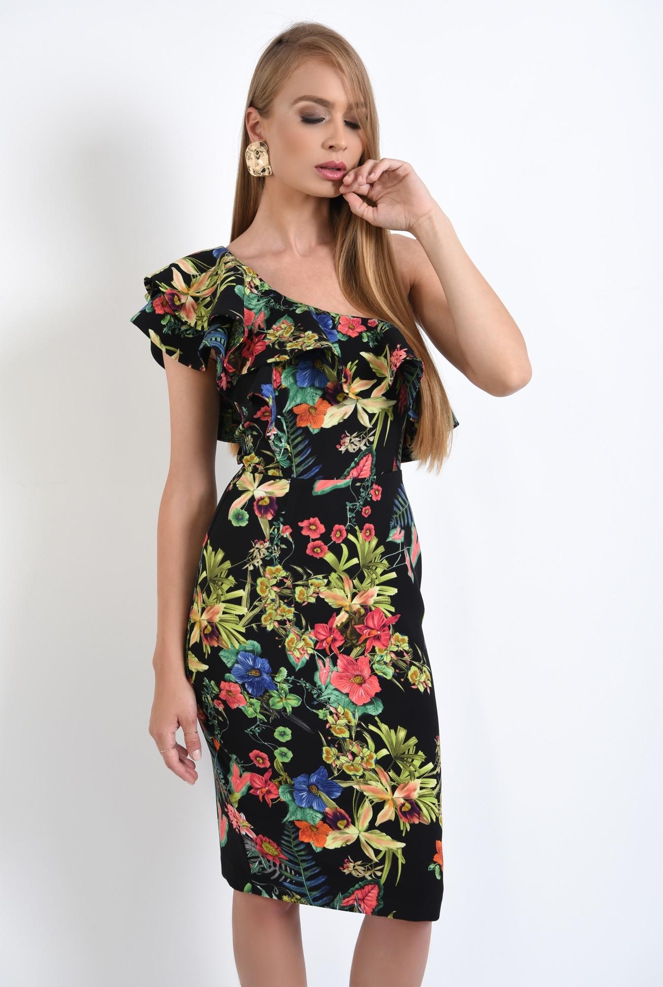 0 - 360 - rochii online, rochie cambrata, cu flori, umar dezgolit
