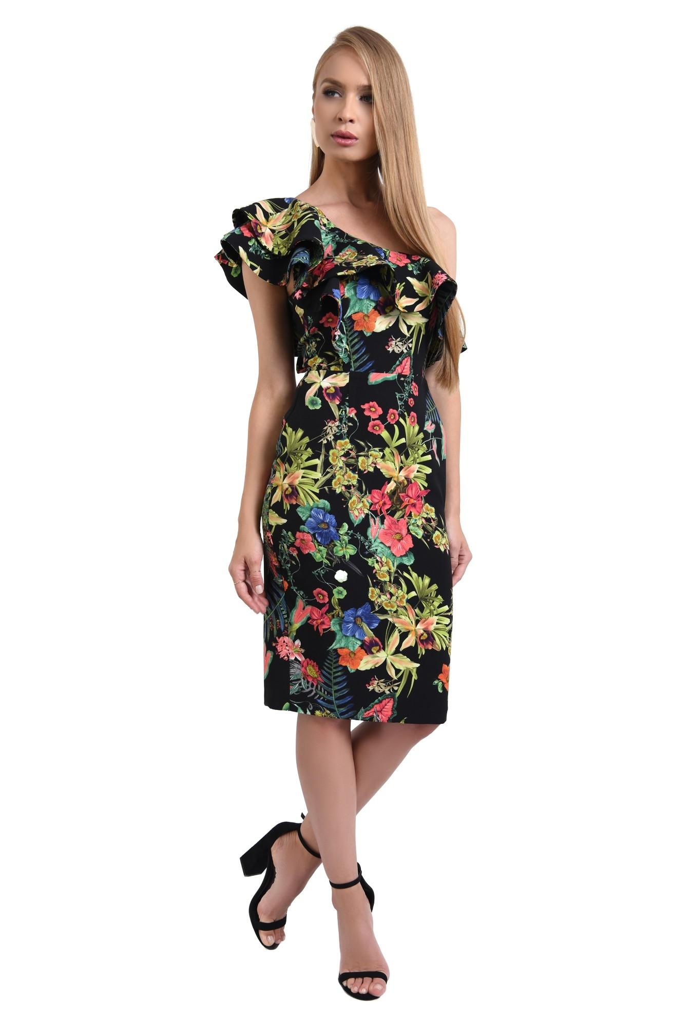 3 - 360 - rochii online, rochie cambrata, cu flori, umar dezgolit