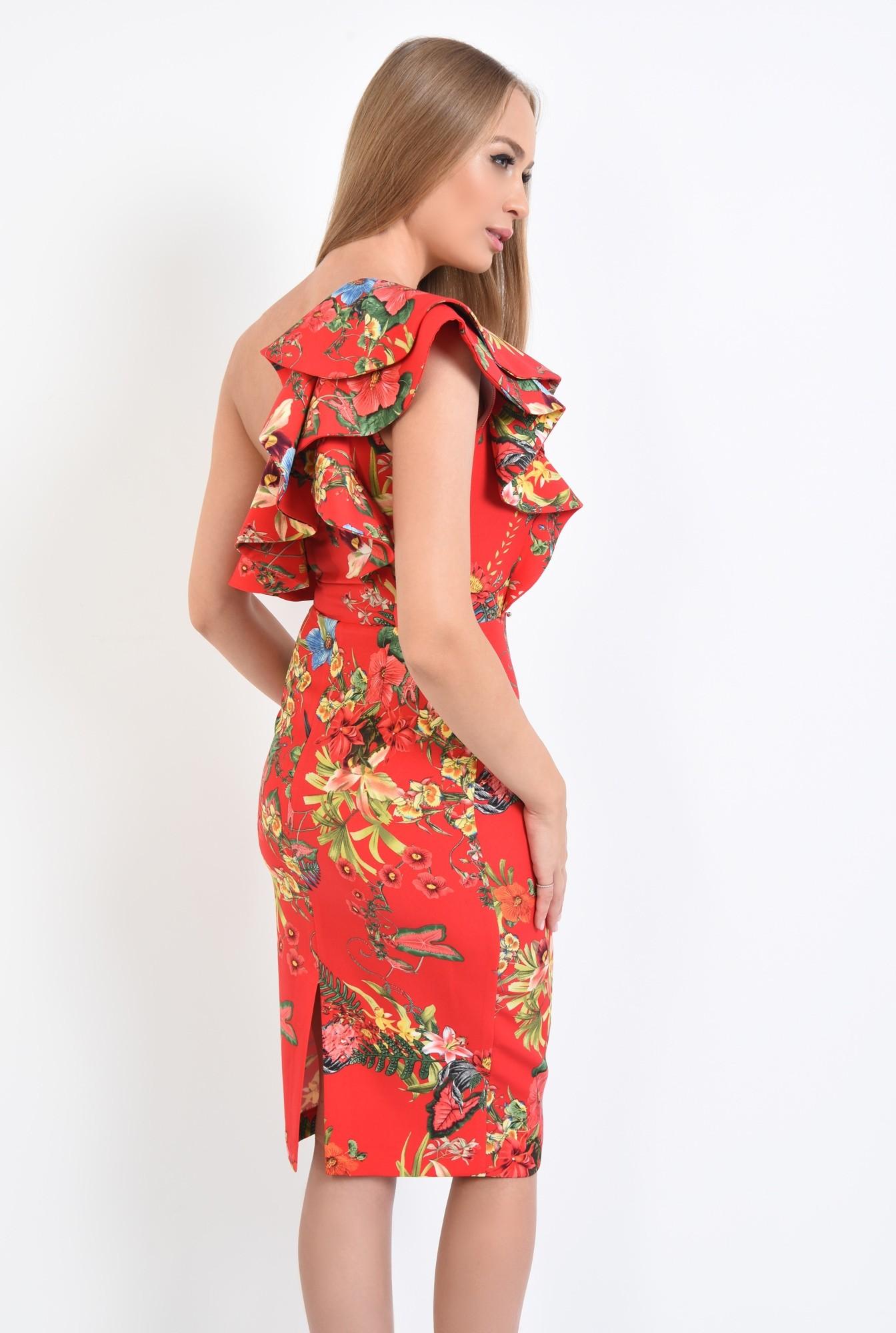 1 - rochie eleganta, conica, midi, motive florale, rosu