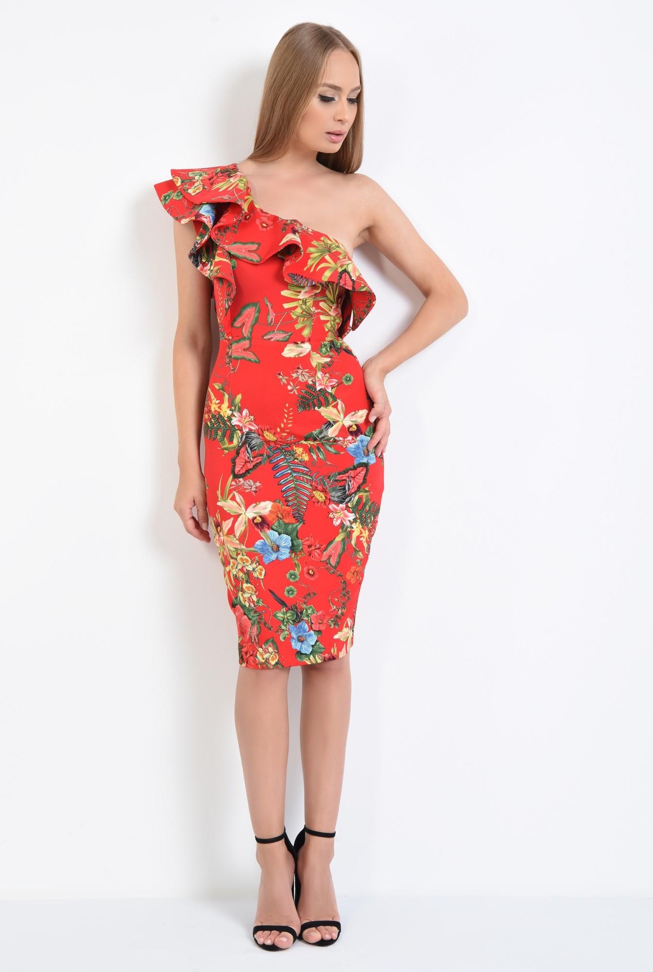 3 - rochie eleganta, conica, midi, motive florale, rosu