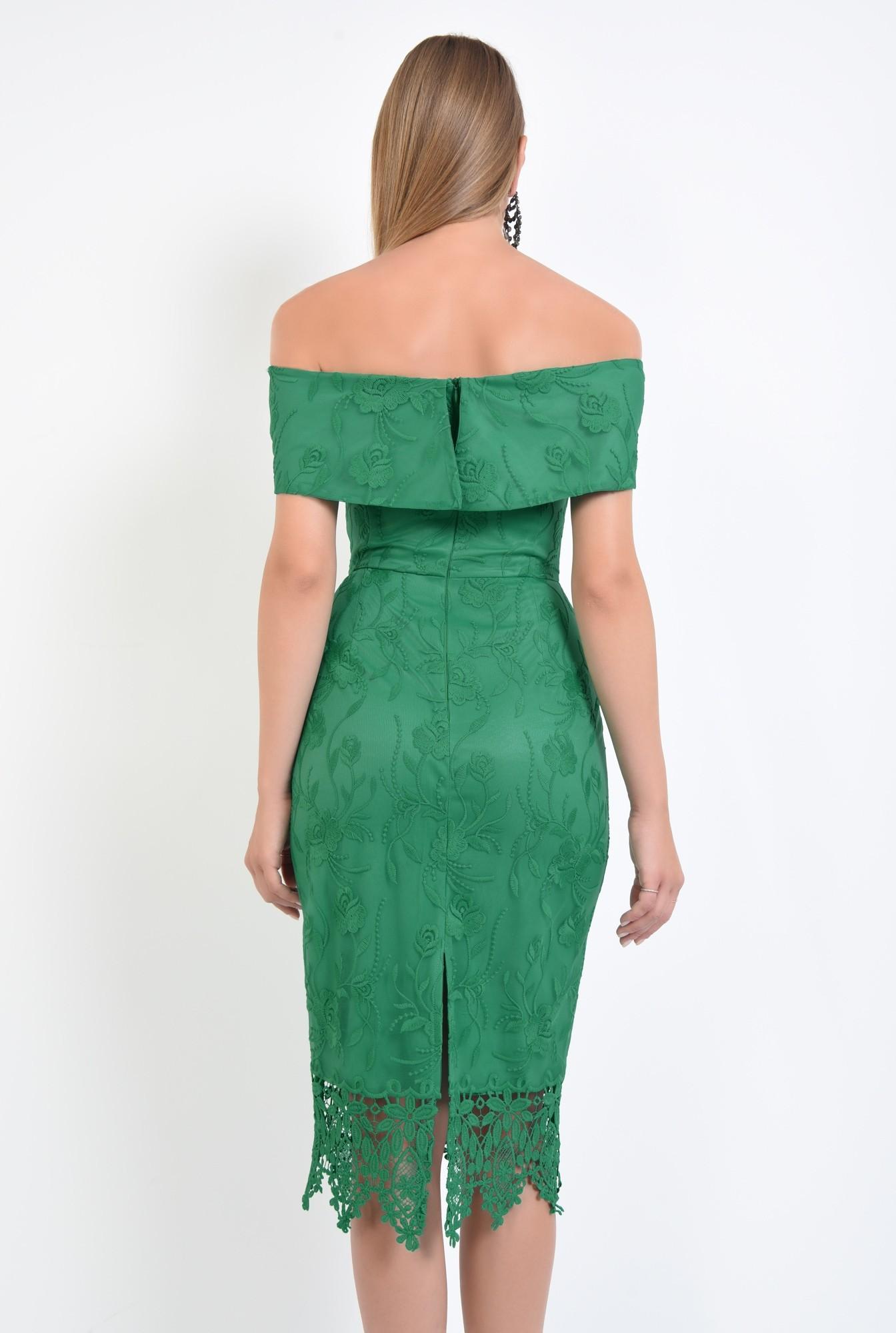 1 - rochie eleganta, conica, dantela, verde, umeri goi, rochii online