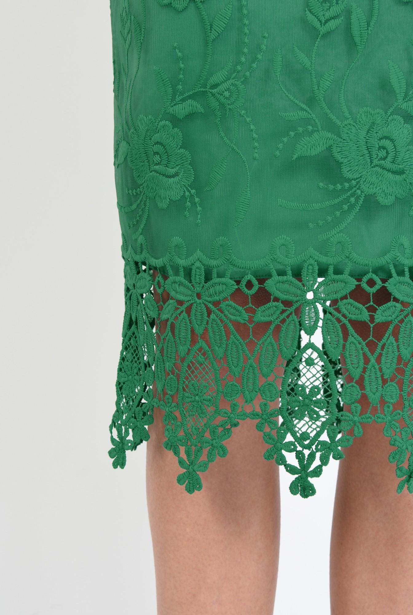2 - rochie eleganta, conica, dantela, verde, umeri goi, rochii online
