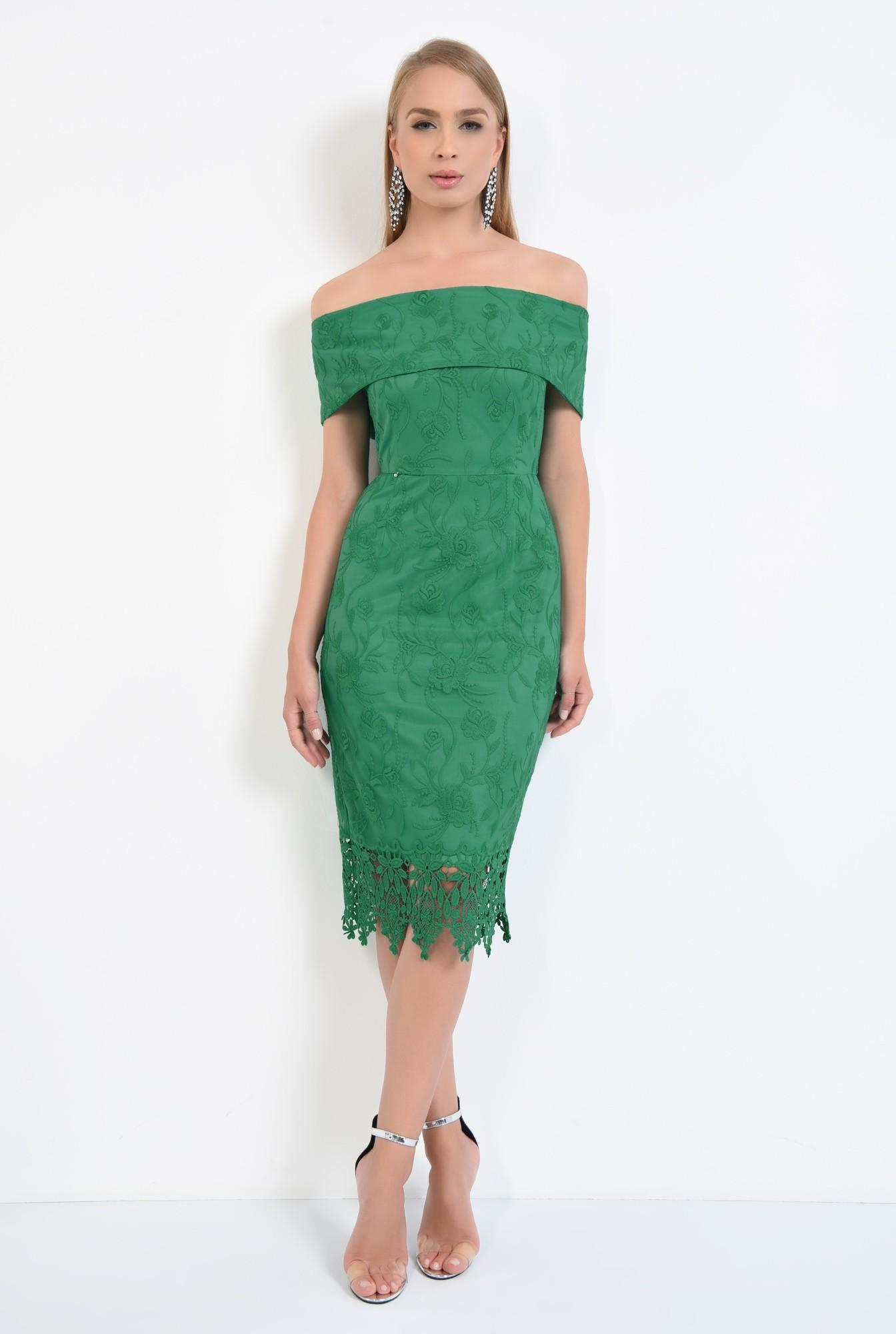 3 - rochie eleganta, conica, dantela, verde, umeri goi, rochii online