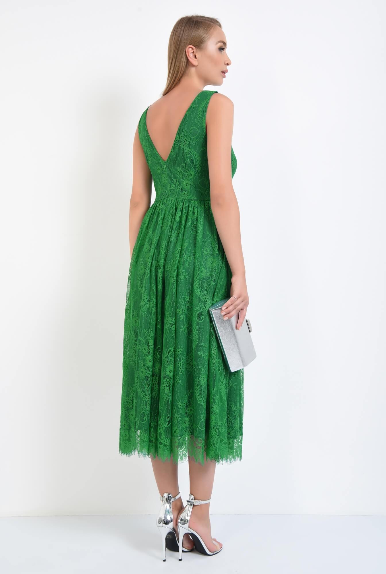 1 - rochie de seara, dantela, verde, midi, decolteu in V