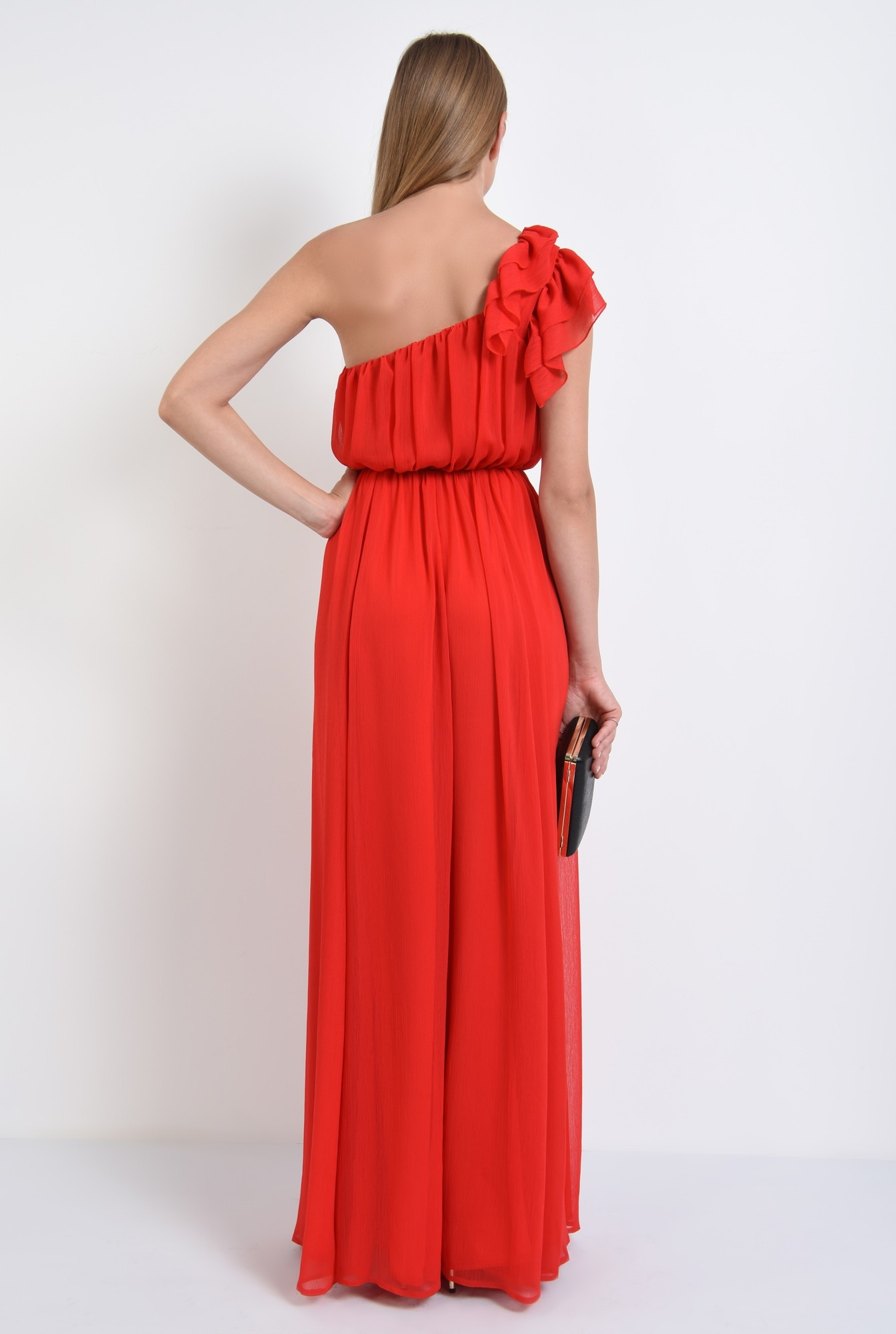 1 - rochie rosie, de seara, bust drapat, rochii online