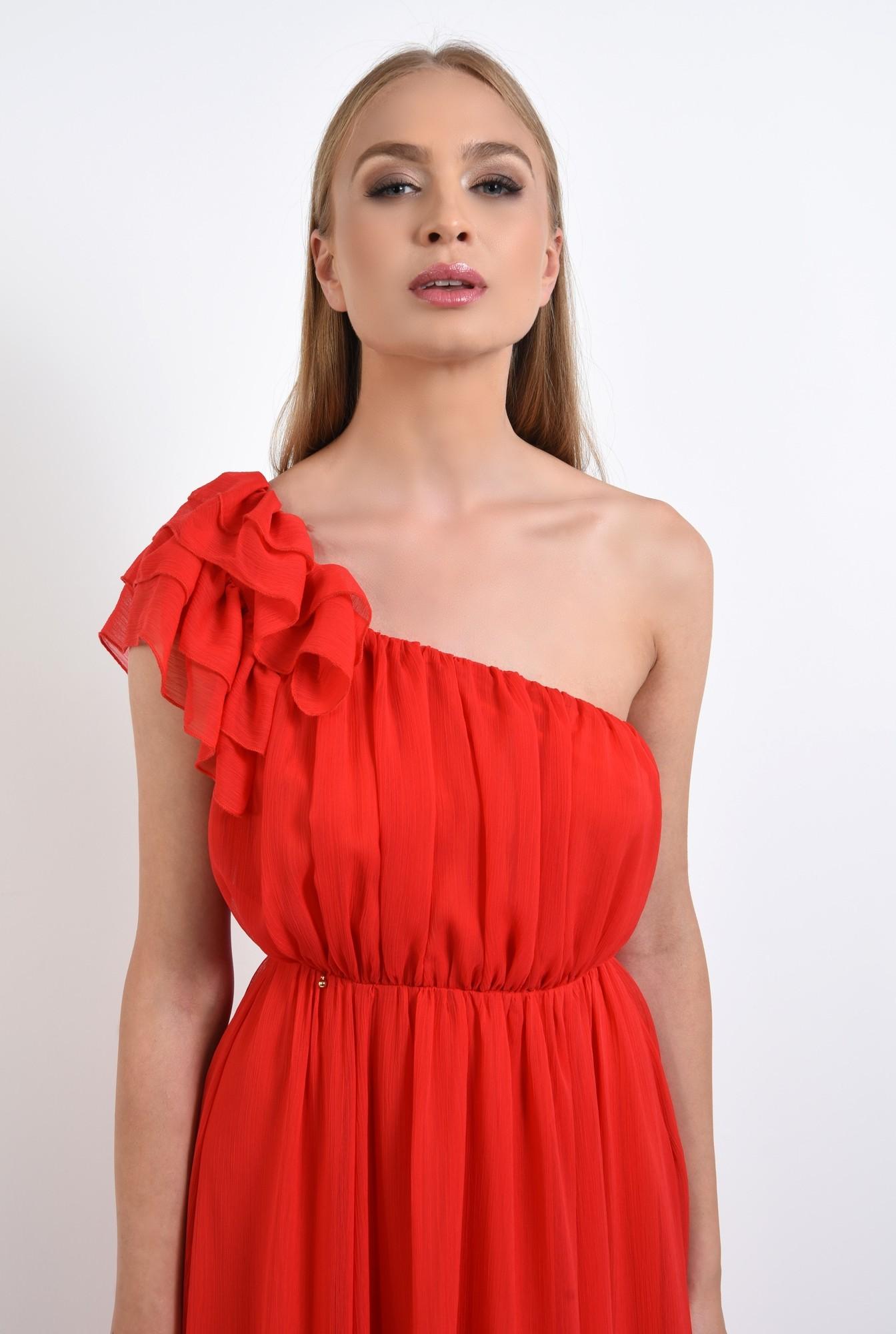 2 - rochie rosie, de seara, bust drapat, rochii online