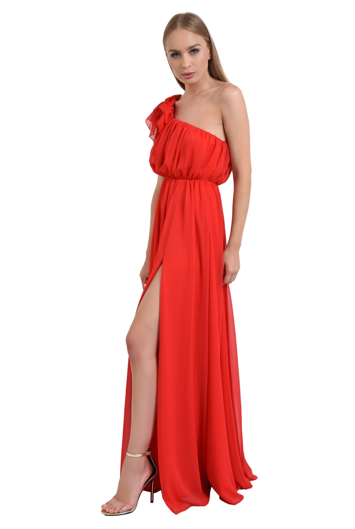 0 - rochie rosie, de seara, bust drapat, rochii online