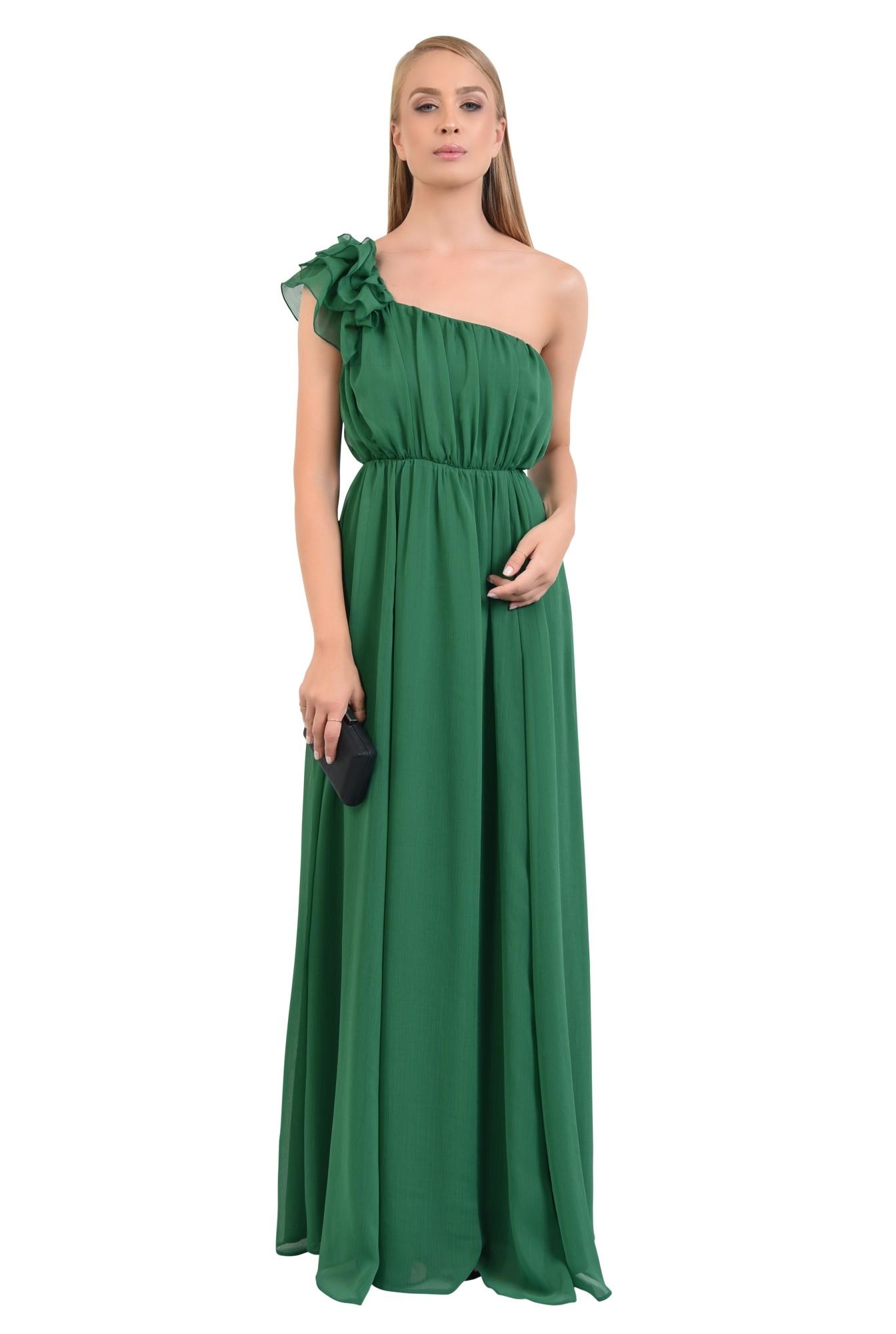 0 - rochie de seara, cu slit, din voal, croi evazat