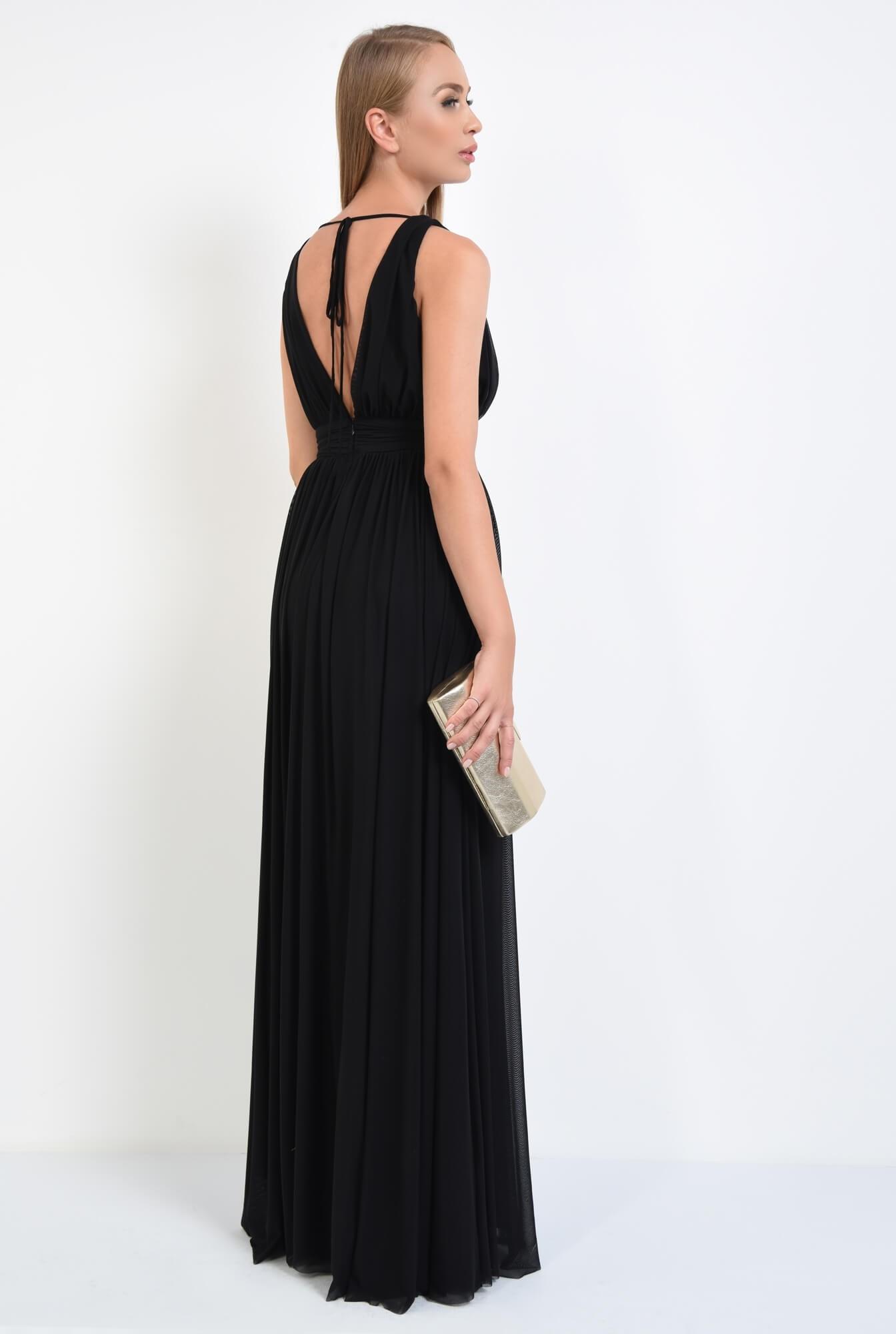 1 - rochie eleganta, lunga, tul, negru, decolteu, anchior