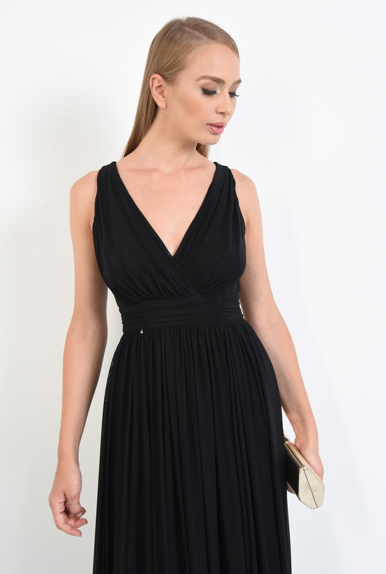 2 - rochie eleganta, lunga, tul, negru, decolteu, anchior