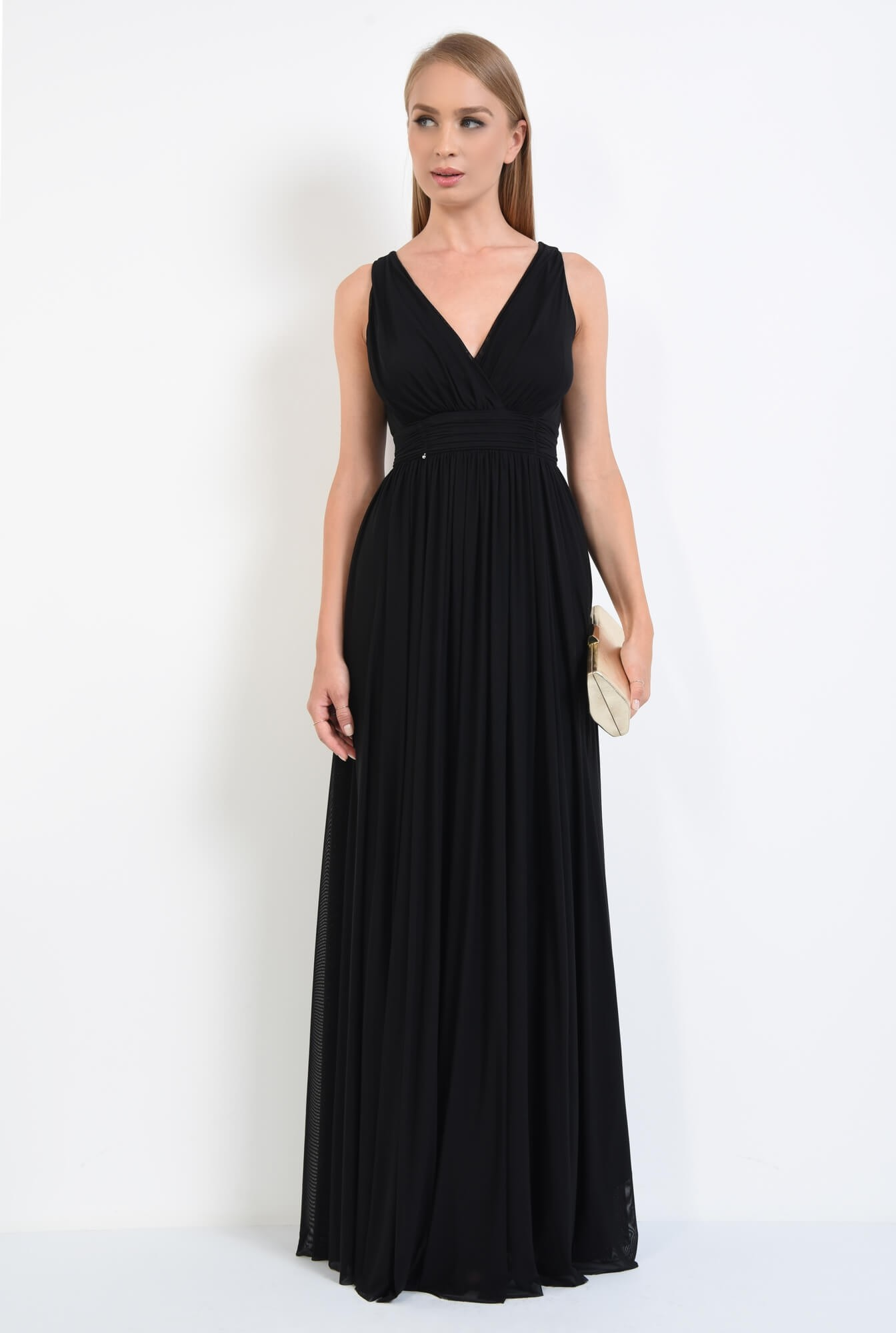 3 - rochie eleganta, lunga, tul, negru, decolteu, anchior