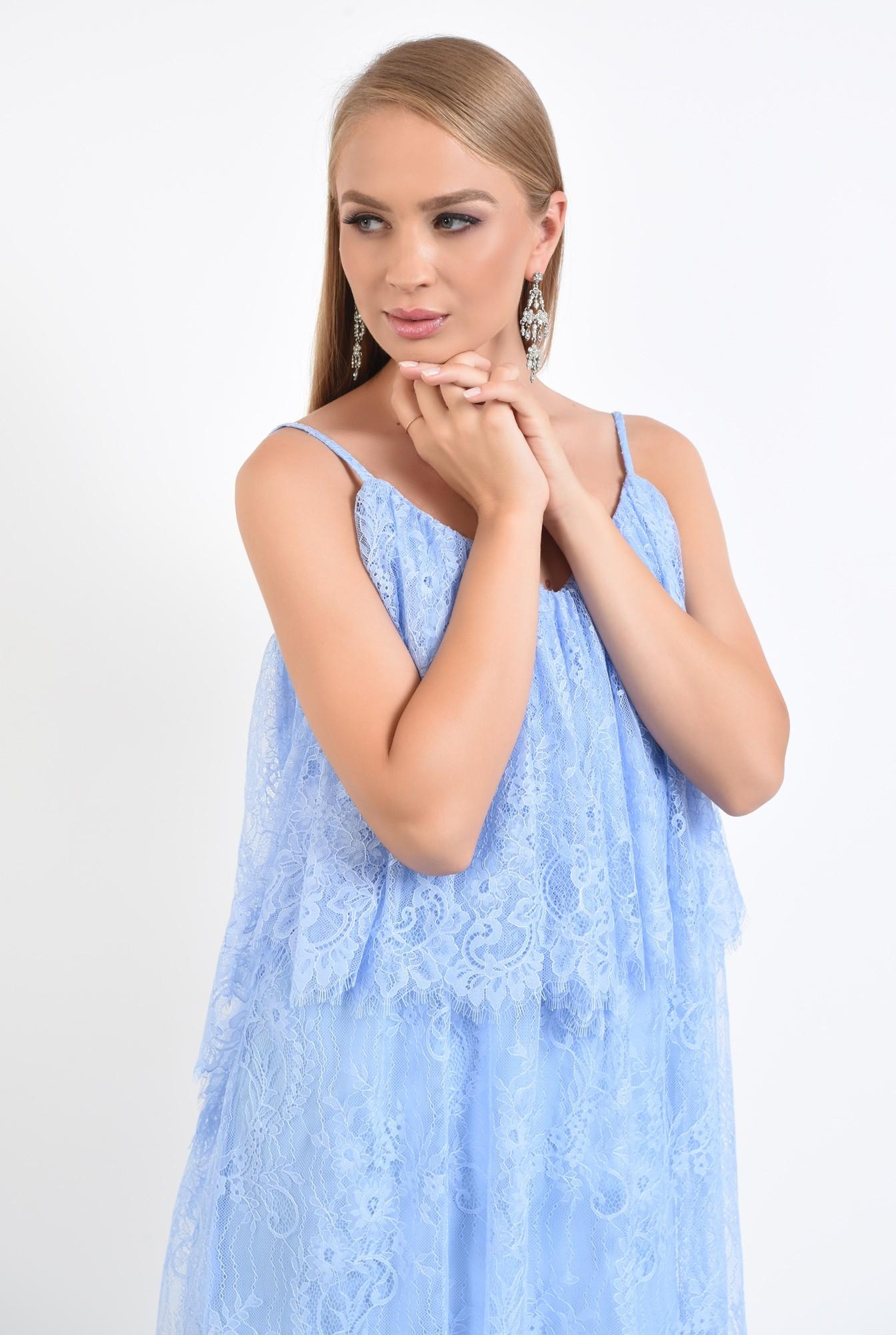 2 - rochie de seara, scurta, din dantela, bleu, cu volan