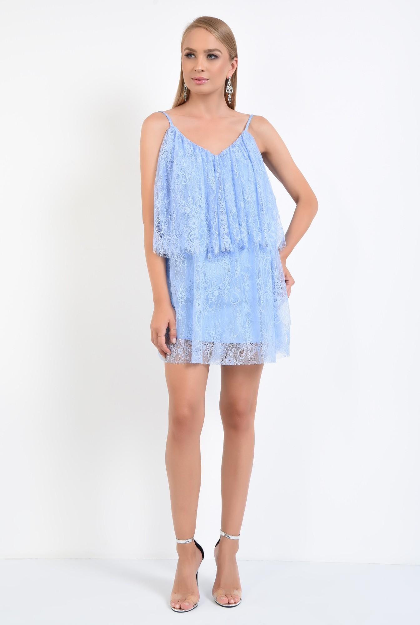 3 - rochie de seara, scurta, din dantela, bleu, cu volan