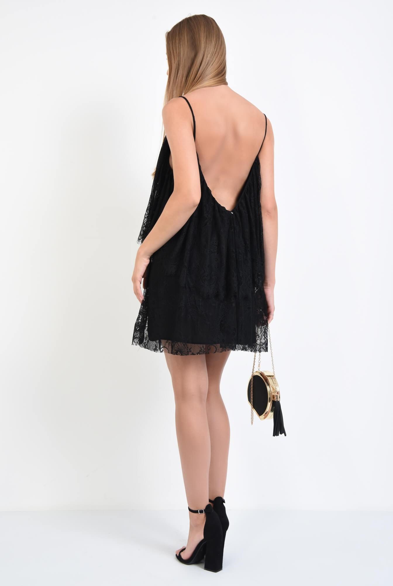 1 - rochie de seara, scurta, din dantela, negru, bretele subtiri