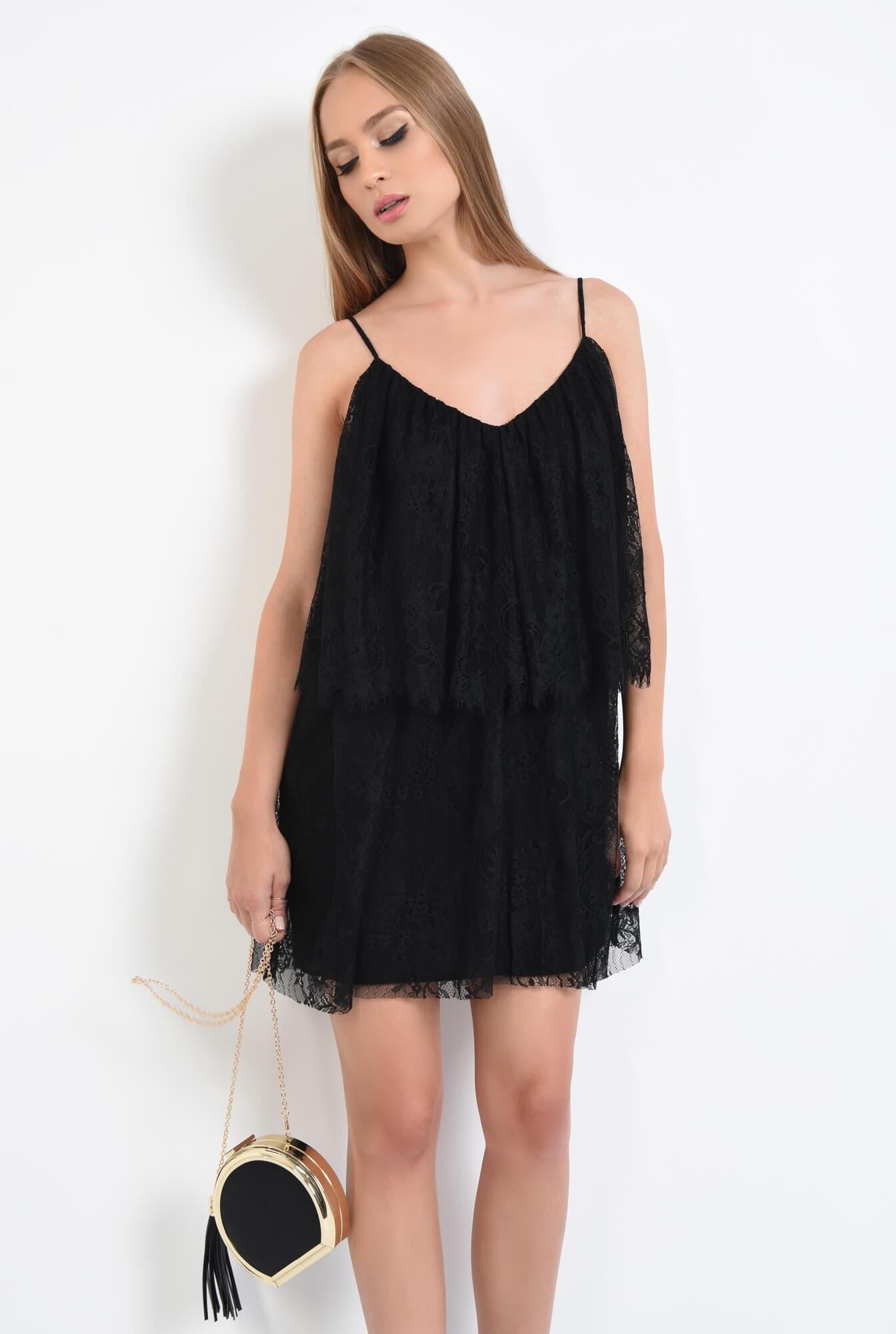 2 - rochie de seara, scurta, din dantela, negru, bretele subtiri