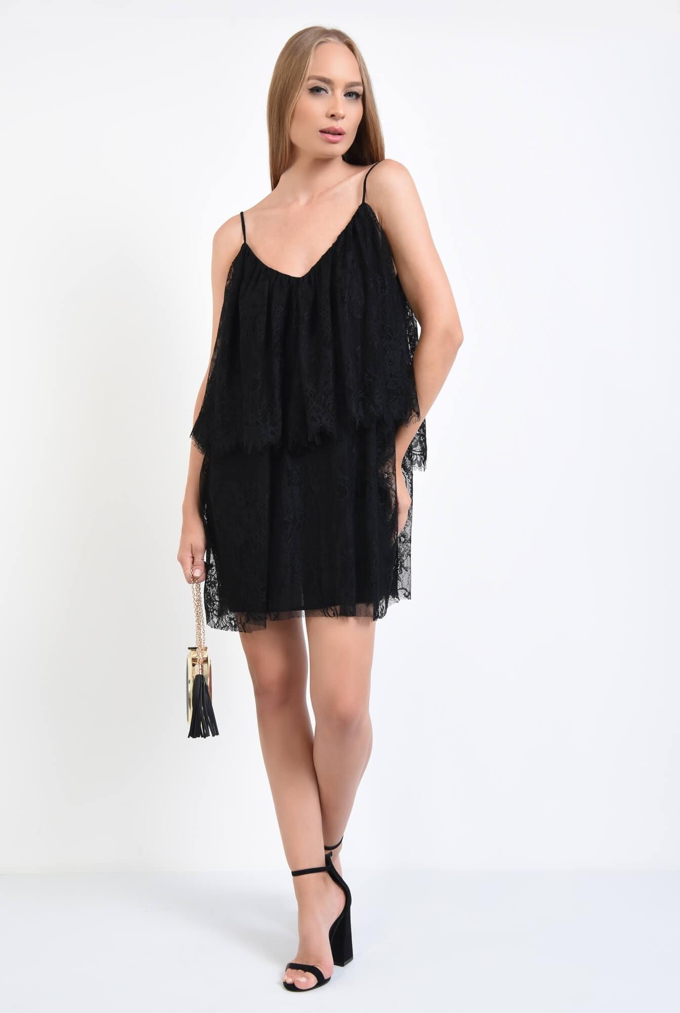 3 - rochie de seara, scurta, din dantela, negru, bretele subtiri