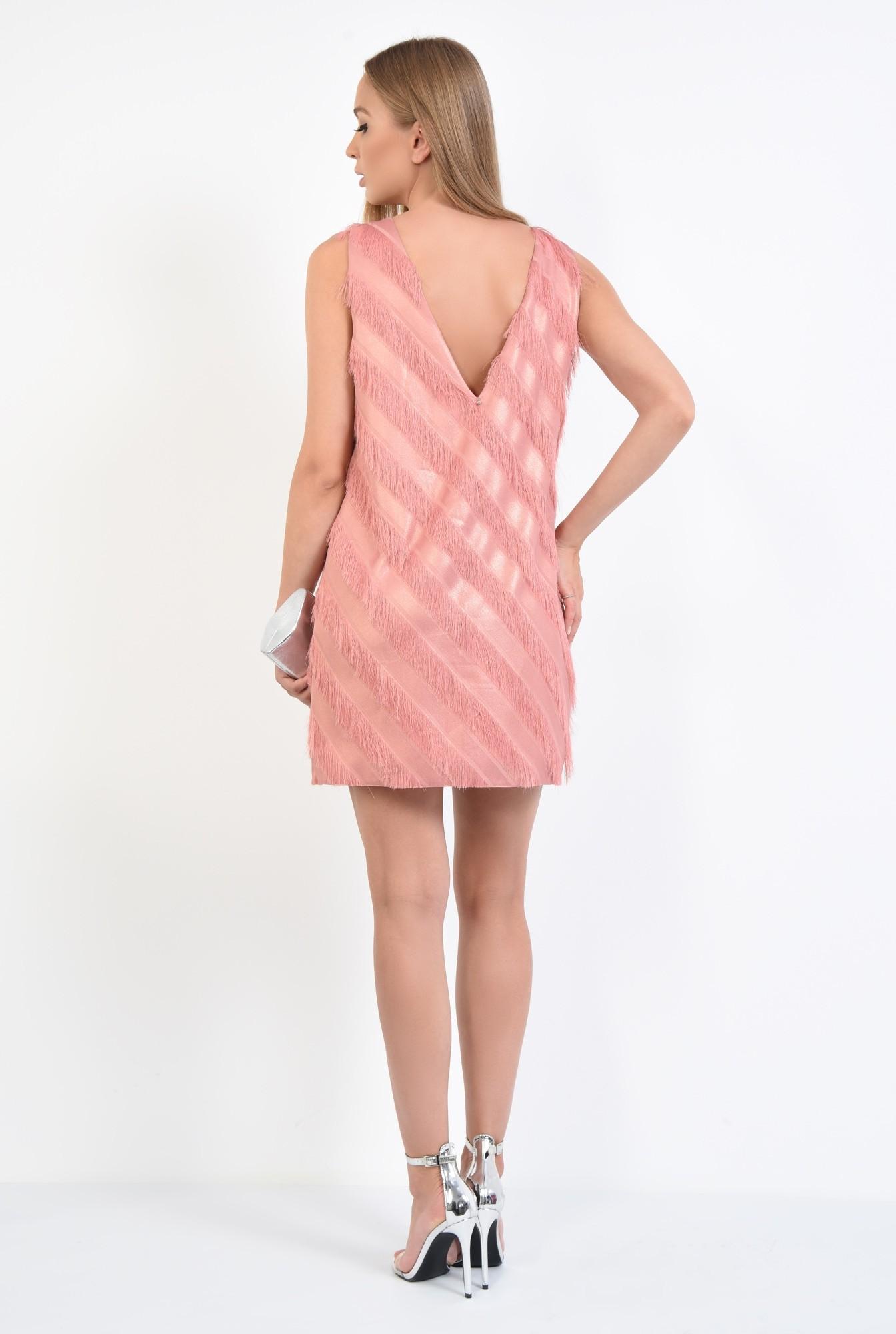 1 - rochie de seara, scurta, cu franjuri, peach