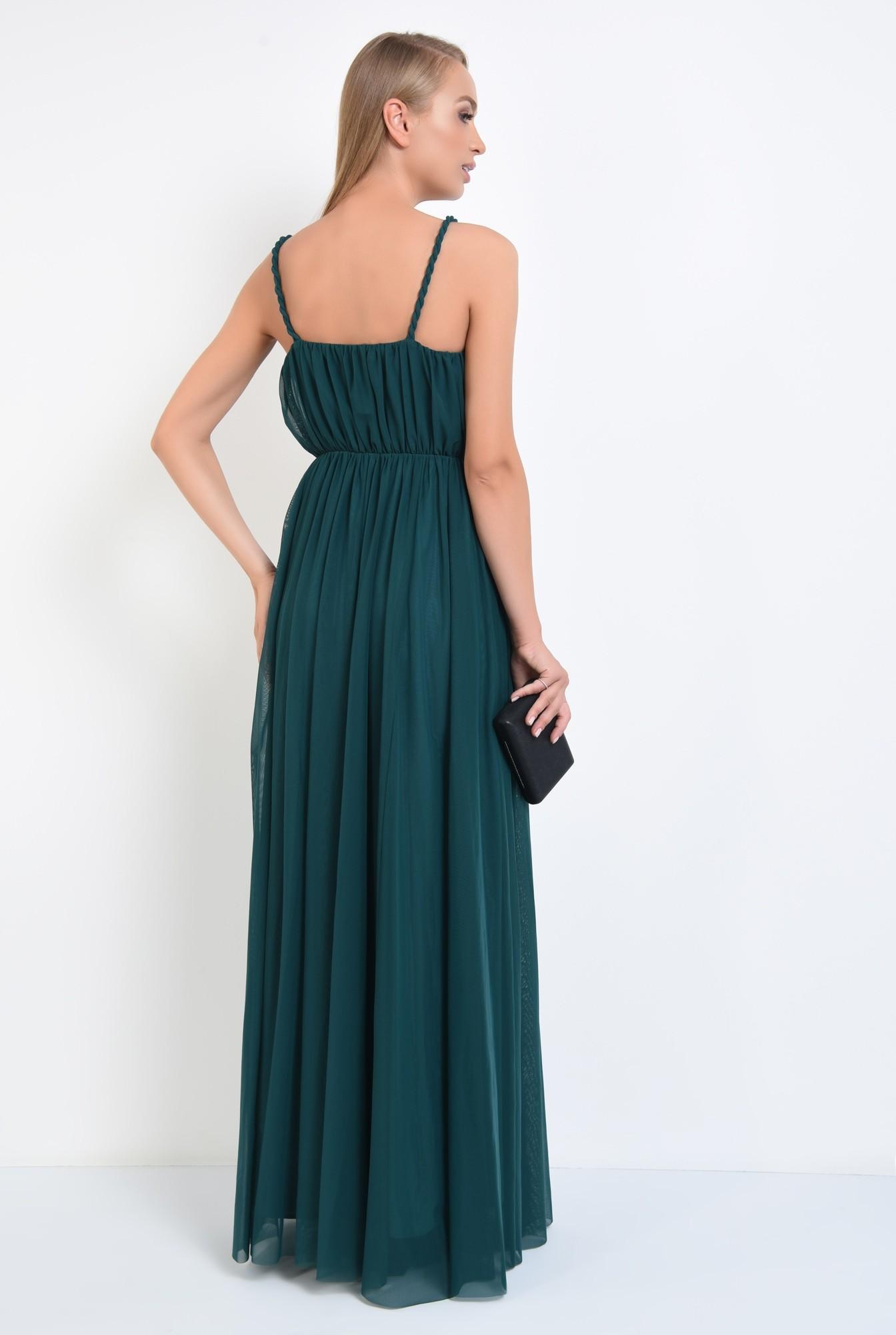 1 - rochie de seara, lunga, din tul, bretele rasucite, verde inchis