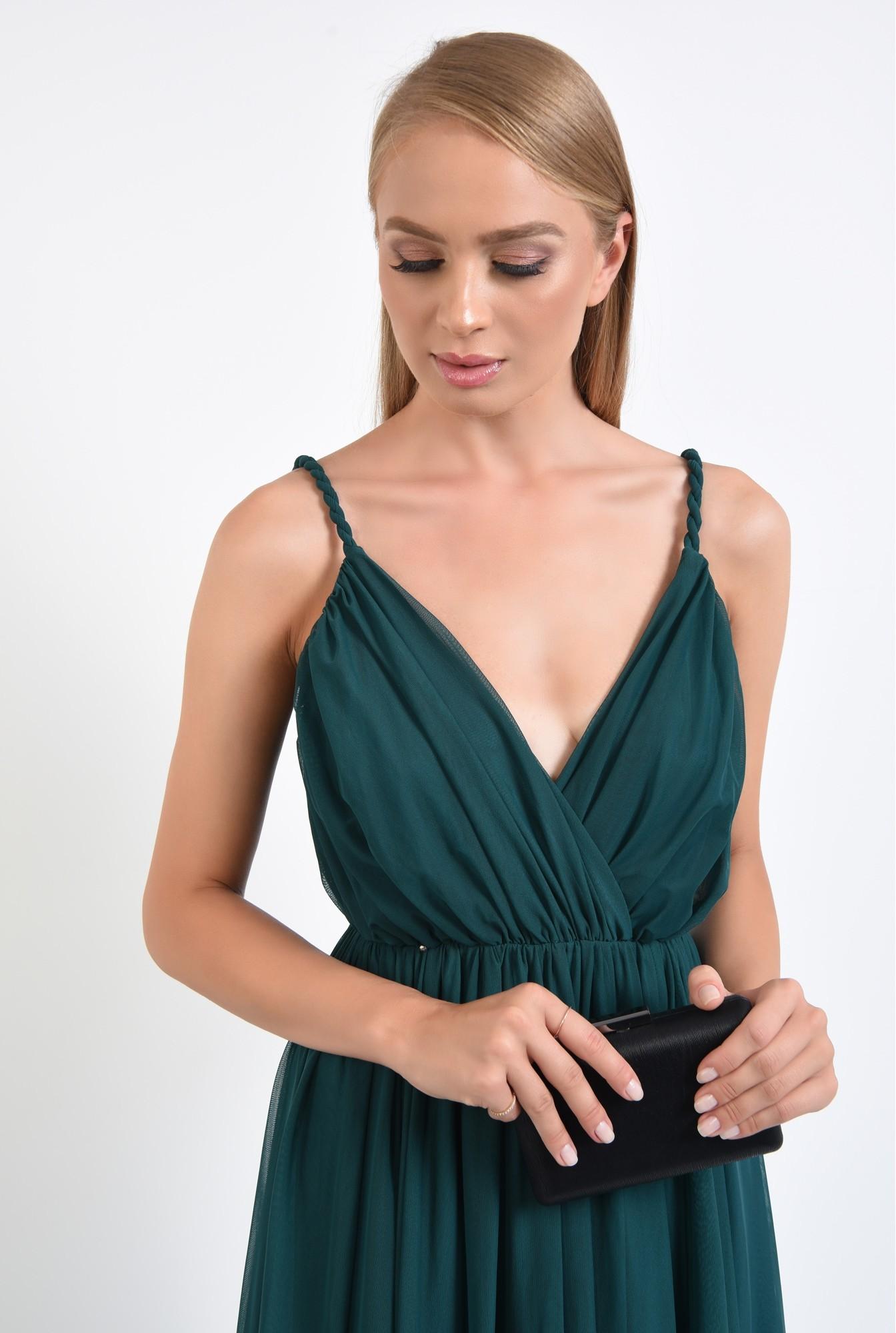 2 - rochie de seara, lunga, din tul, bretele rasucite, verde inchis