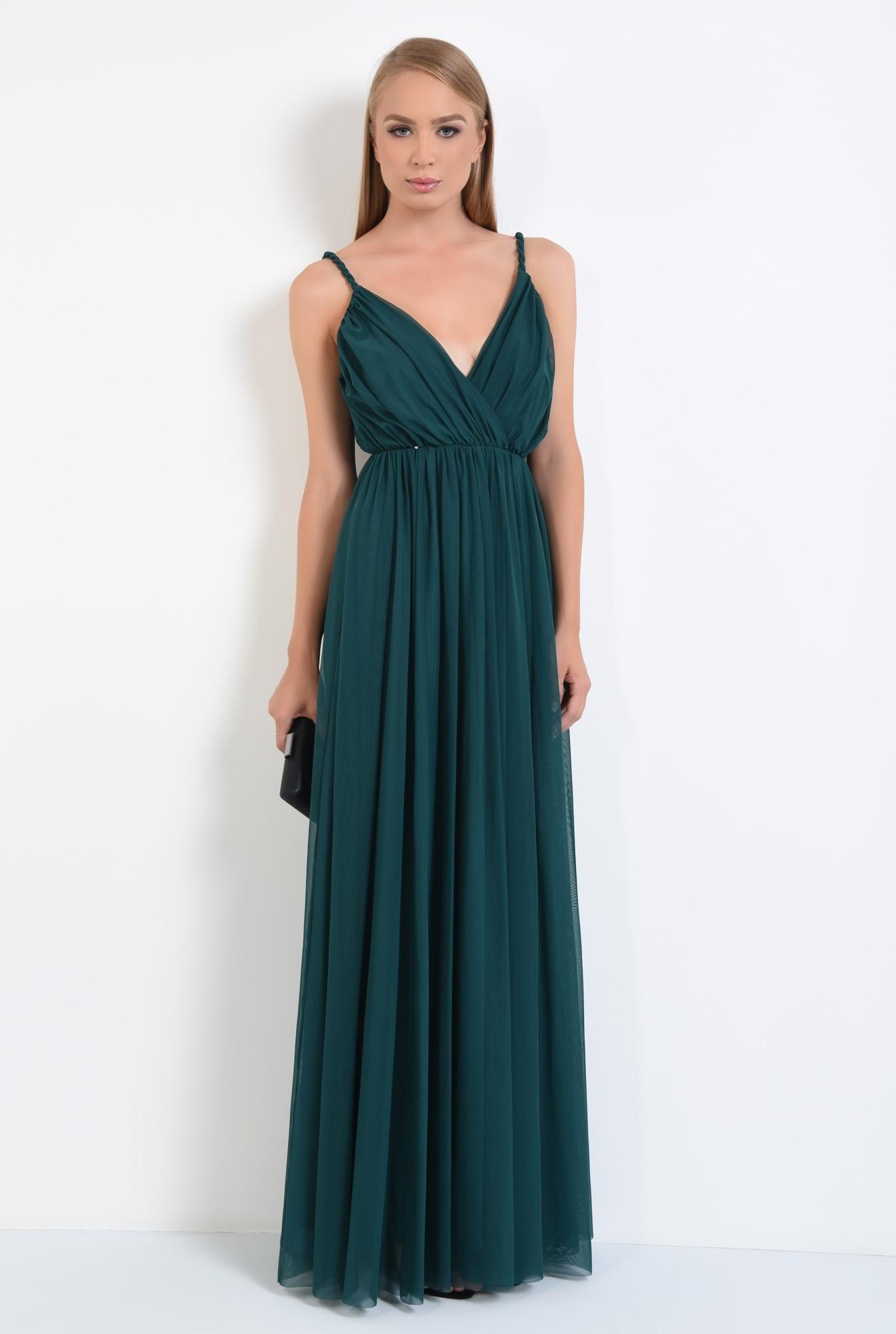 3 - rochie de seara, lunga, din tul, bretele rasucite, verde inchis