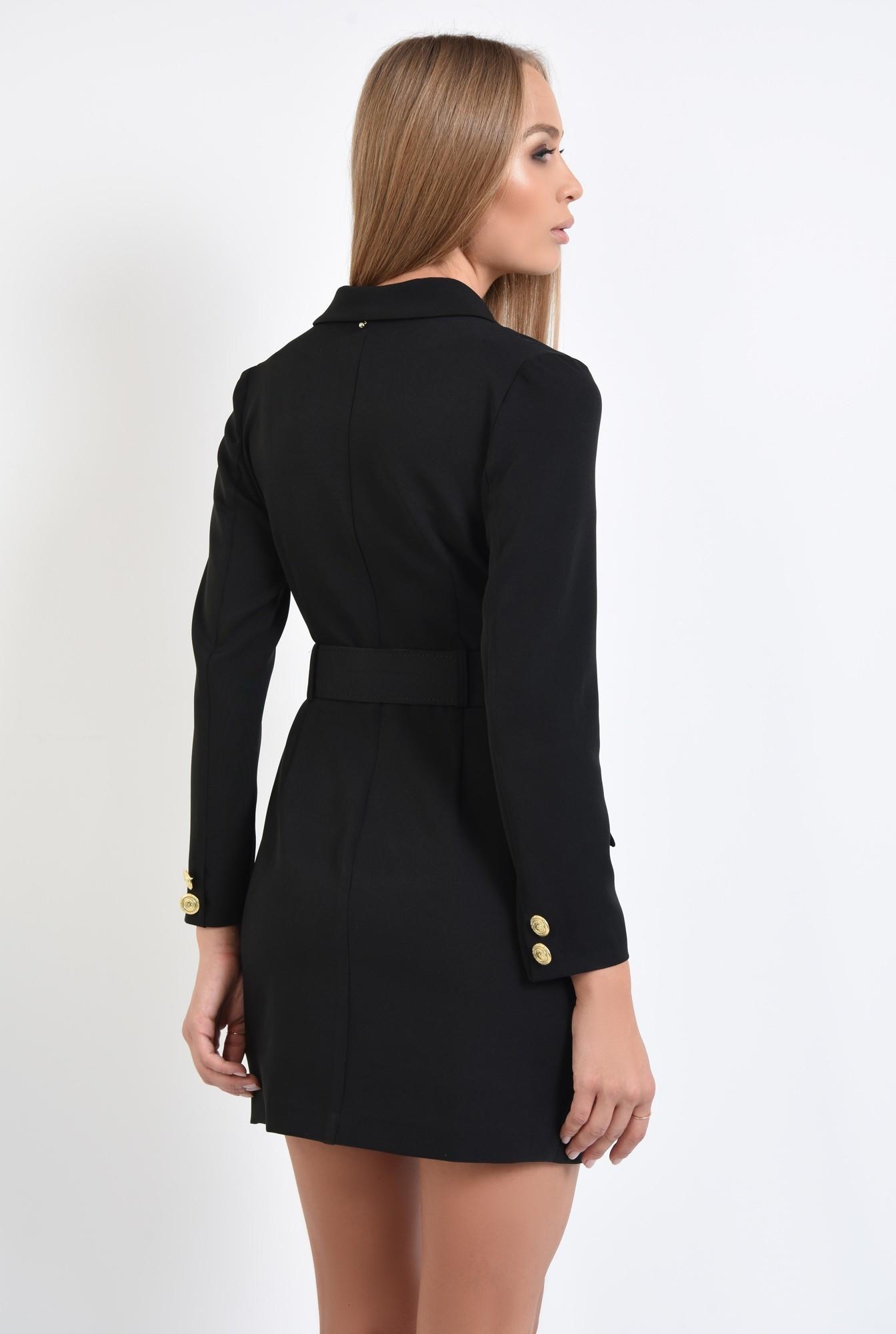 1 - rochie blazer, decolteu anchior petrecut, centura cu catarama si capse aurii