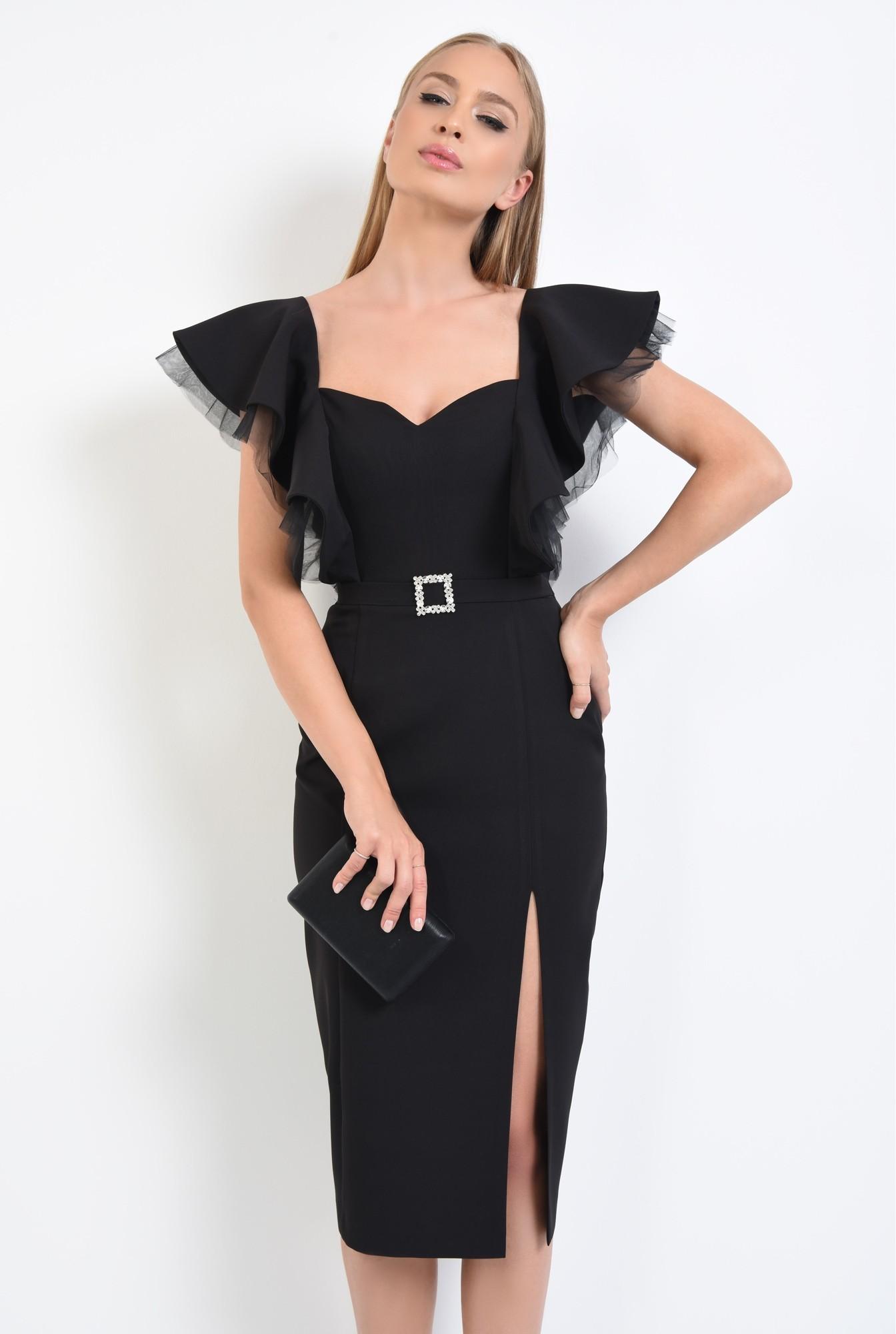 2 - rochie de ocazie, negru, volane