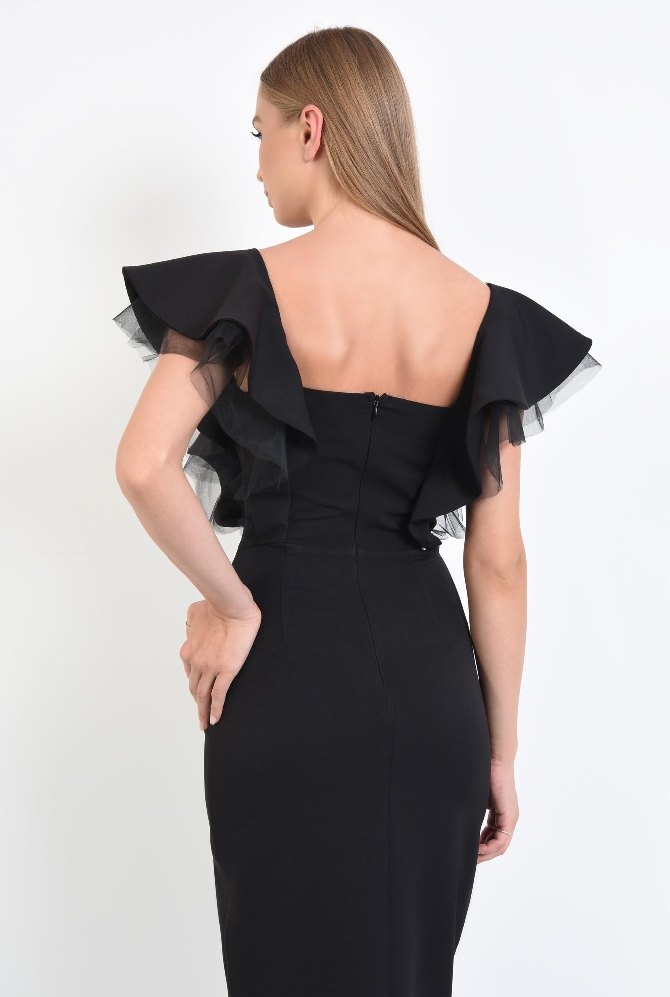 1 - rochie de ocazie, negru, volane