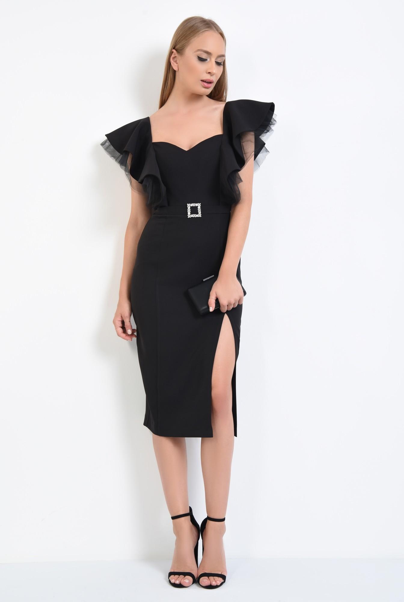 3 - rochie de ocazie, negru, volane