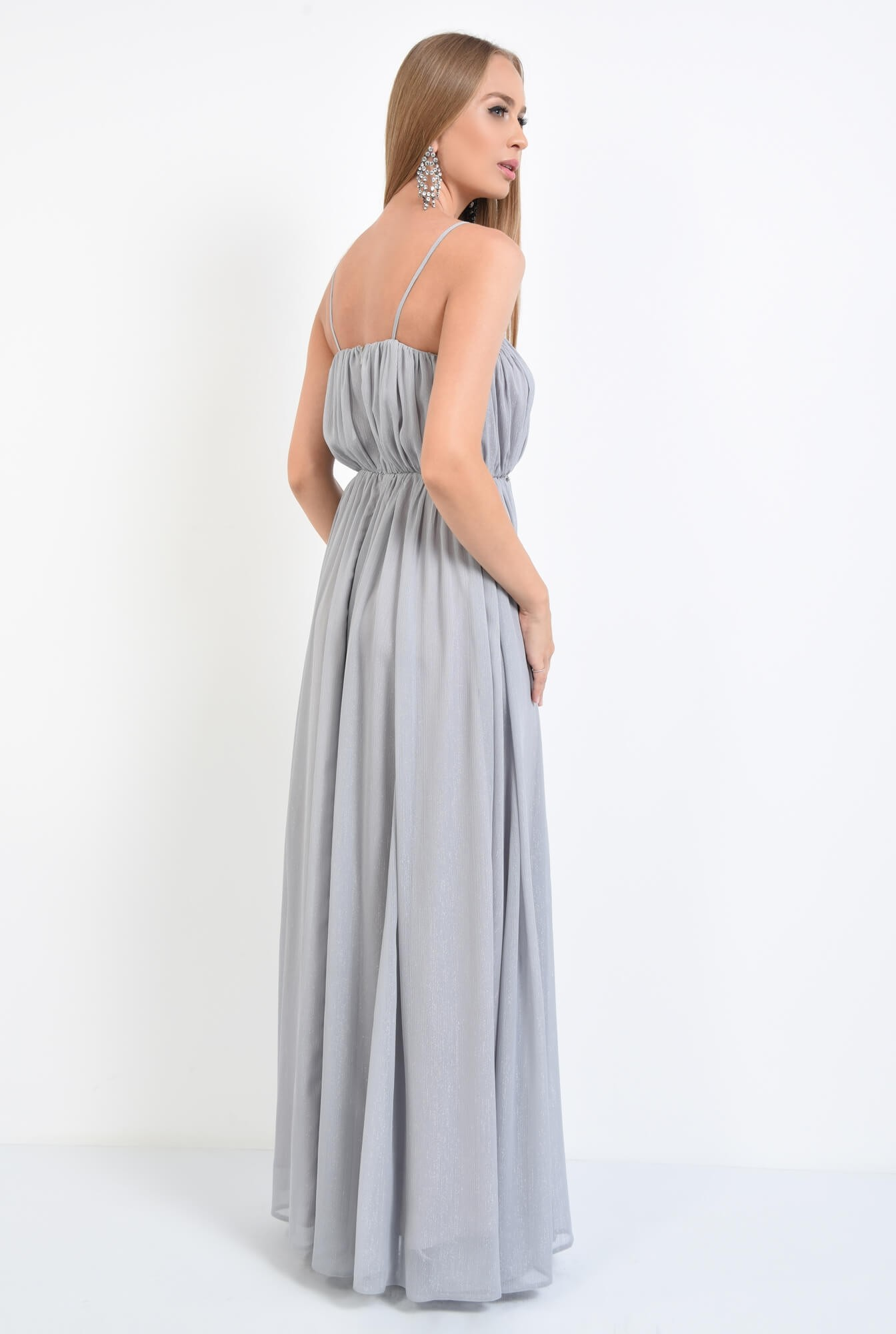 1 - rochie de seara, pliuri, argintiu, lunga, voal