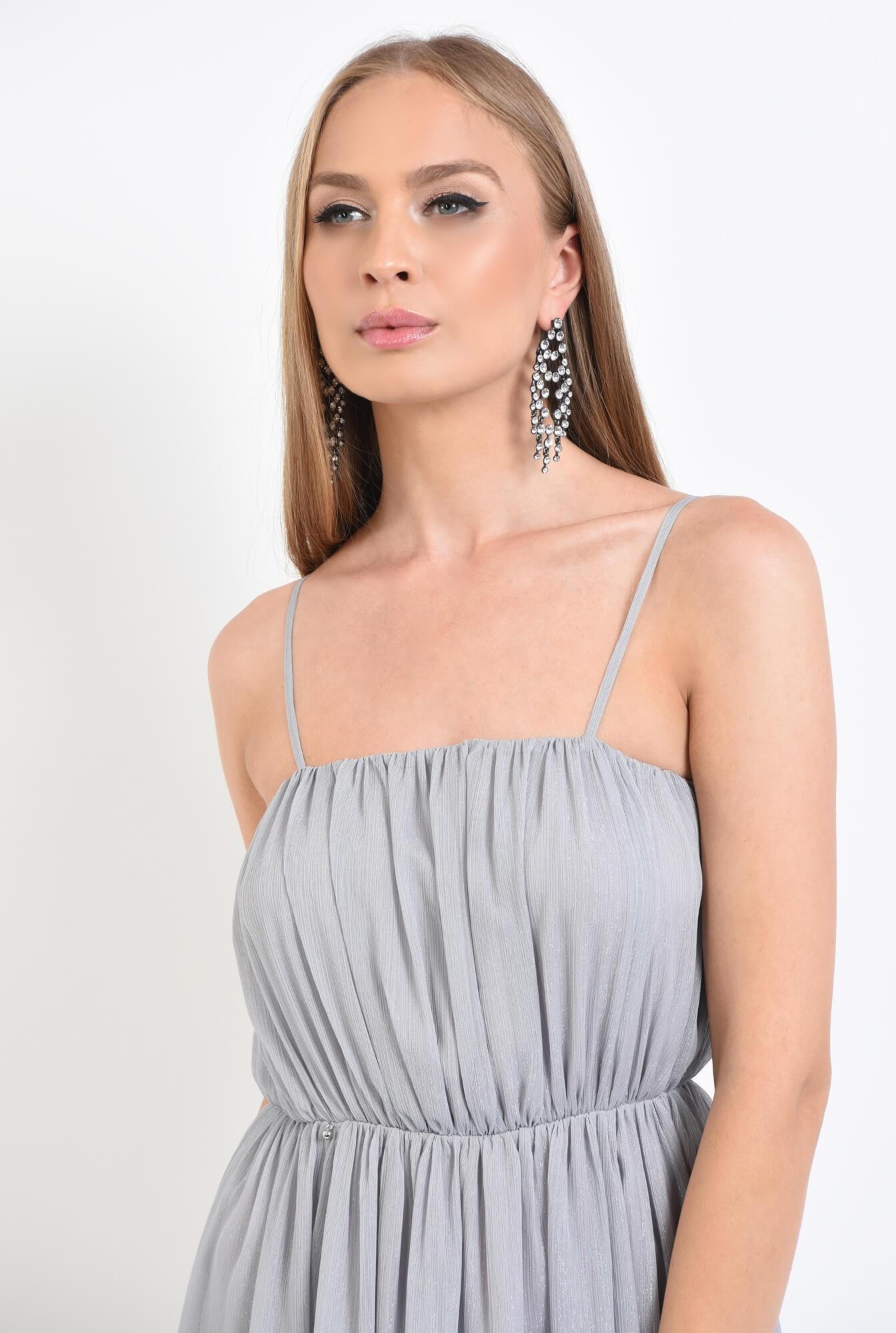 2 - rochie de seara, pliuri, argintiu, lunga, voal