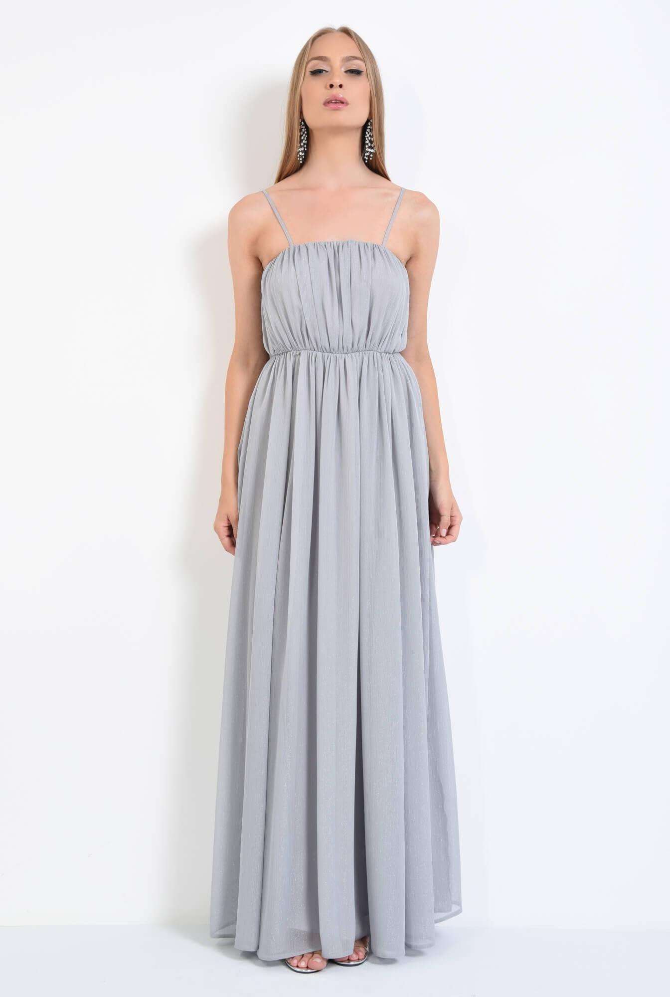 3 - rochie de seara, pliuri, argintiu, lunga, voal
