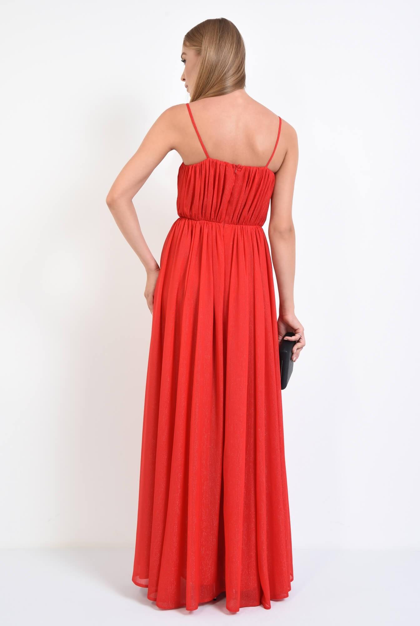 1 - rochie de seara, lunga, rosu, voal