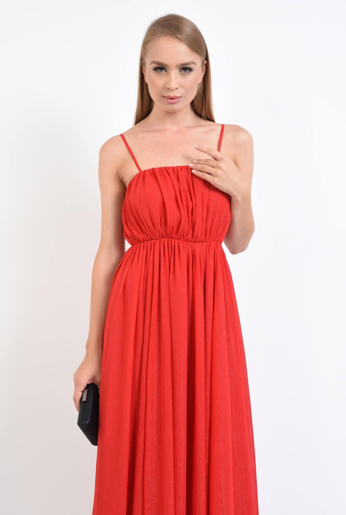2 - rochie de seara, lunga, rosu, voal