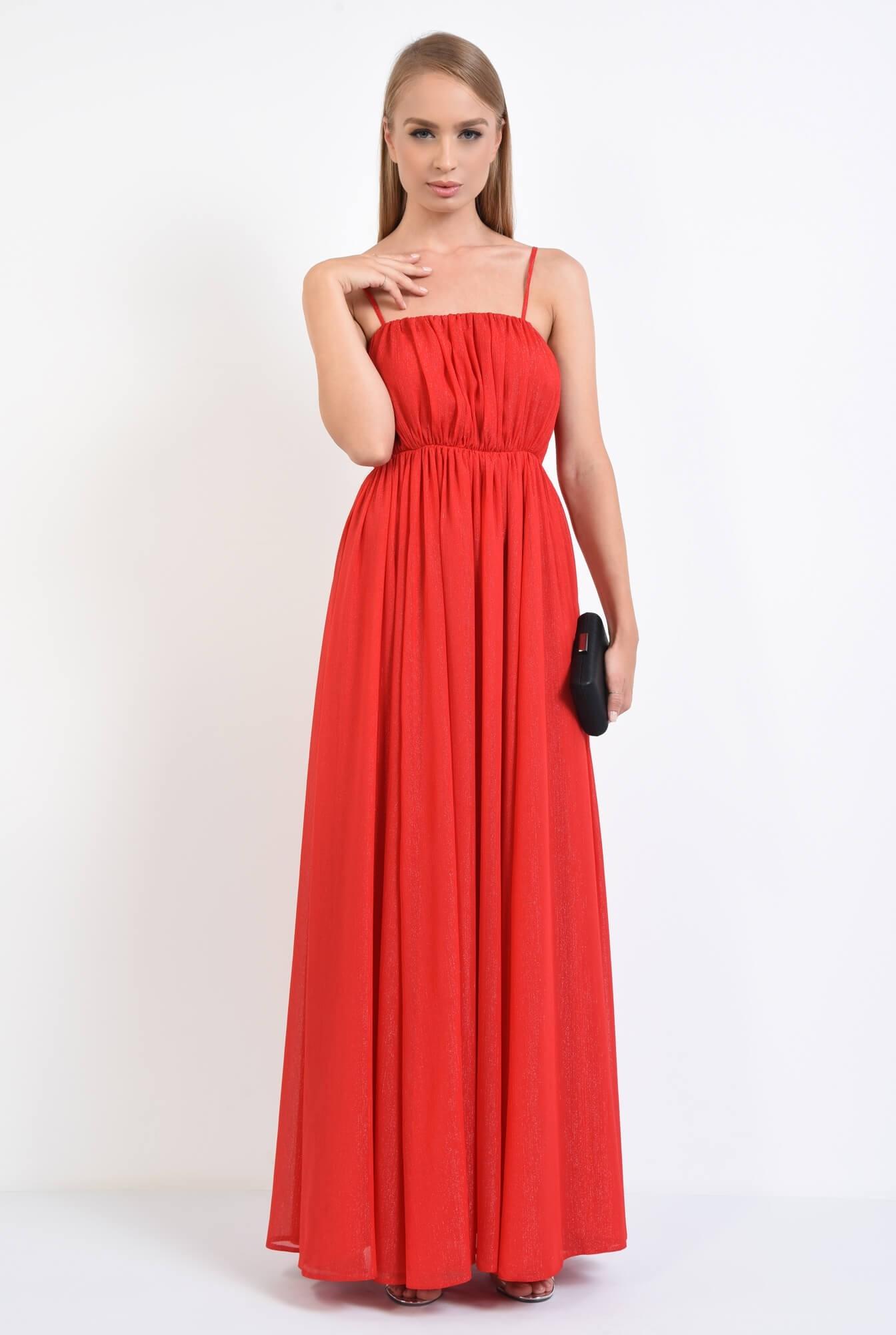 3 - rochie de seara, lunga, rosu, voal