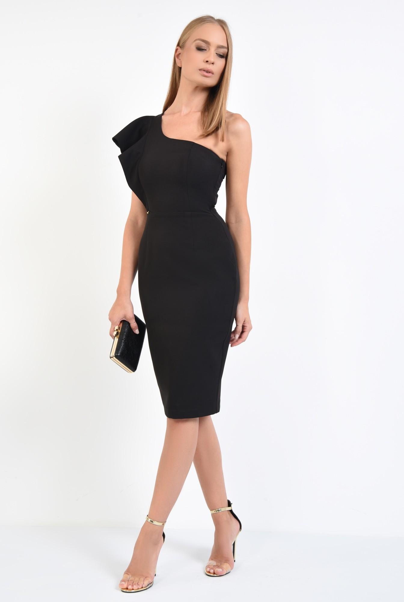 3 - rochie neagra, de seara, volan la umar, rochii online
