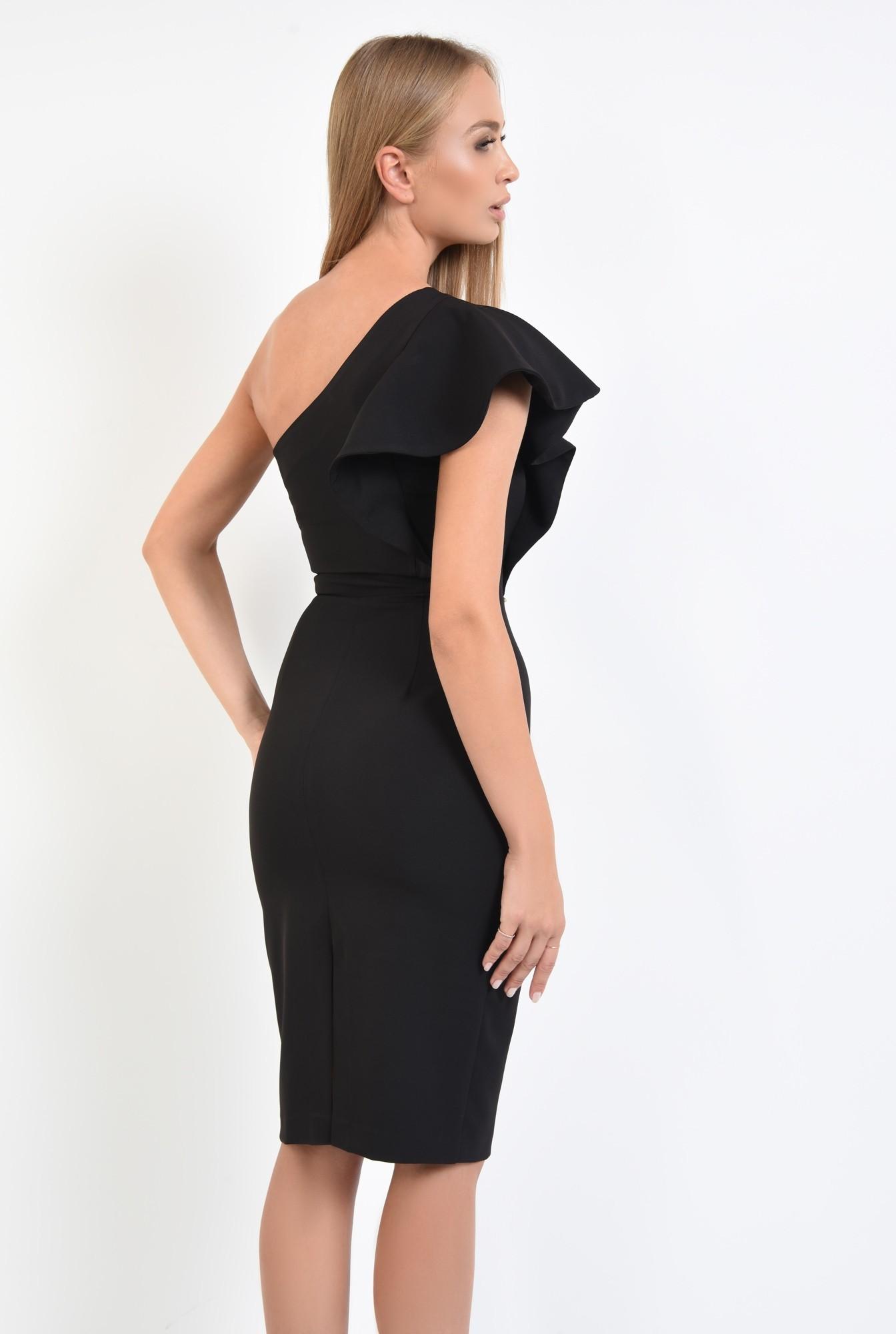 1 - rochie neagra, de seara, volan la umar, rochii online