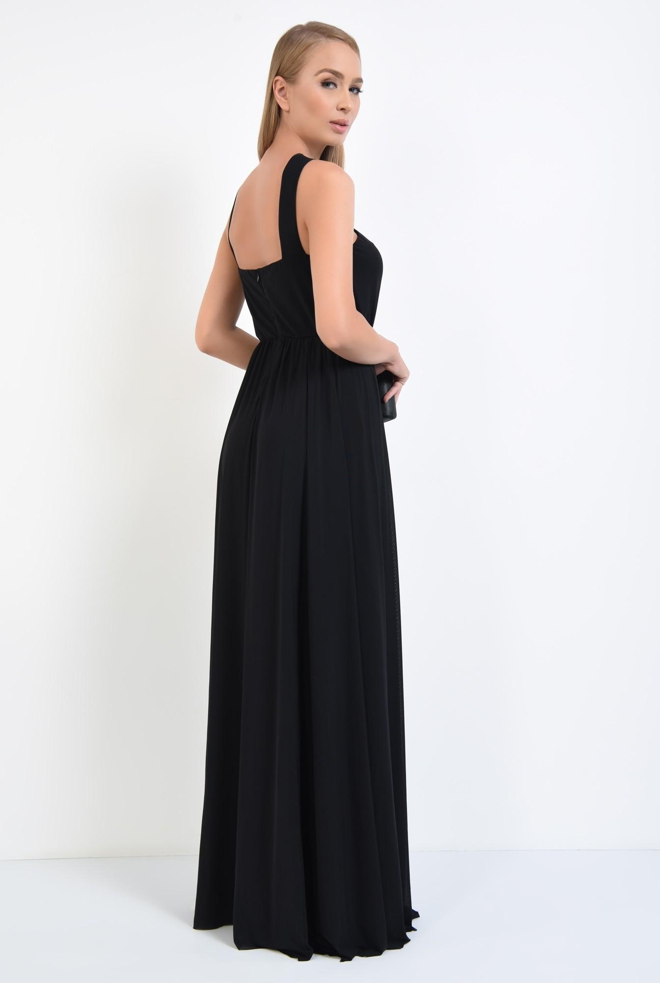 1 - rochie de ocazie cu bretele, catarama argintie, croi evazat, rochii online