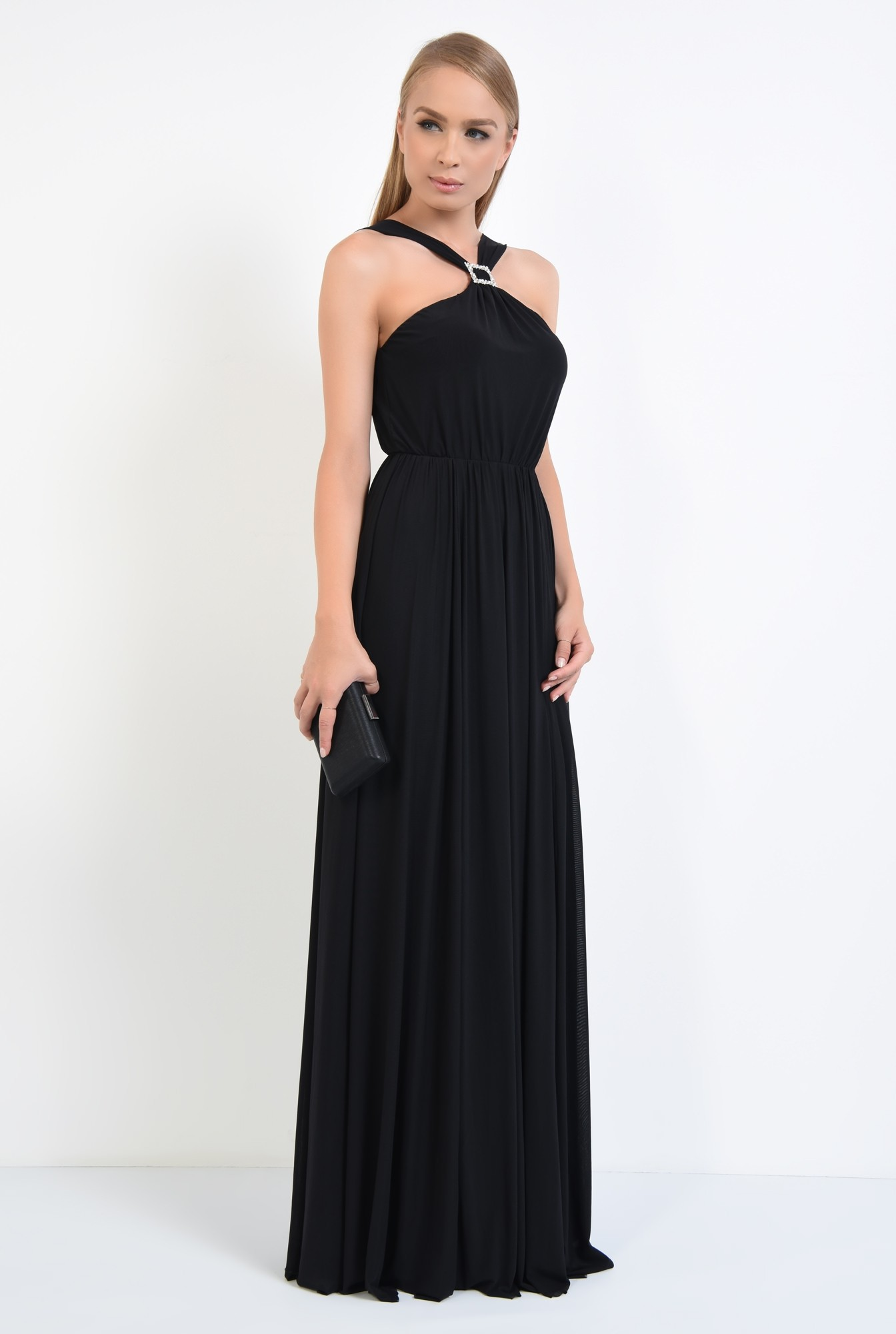 3 - rochie de ocazie cu bretele, catarama argintie, croi evazat, rochii online