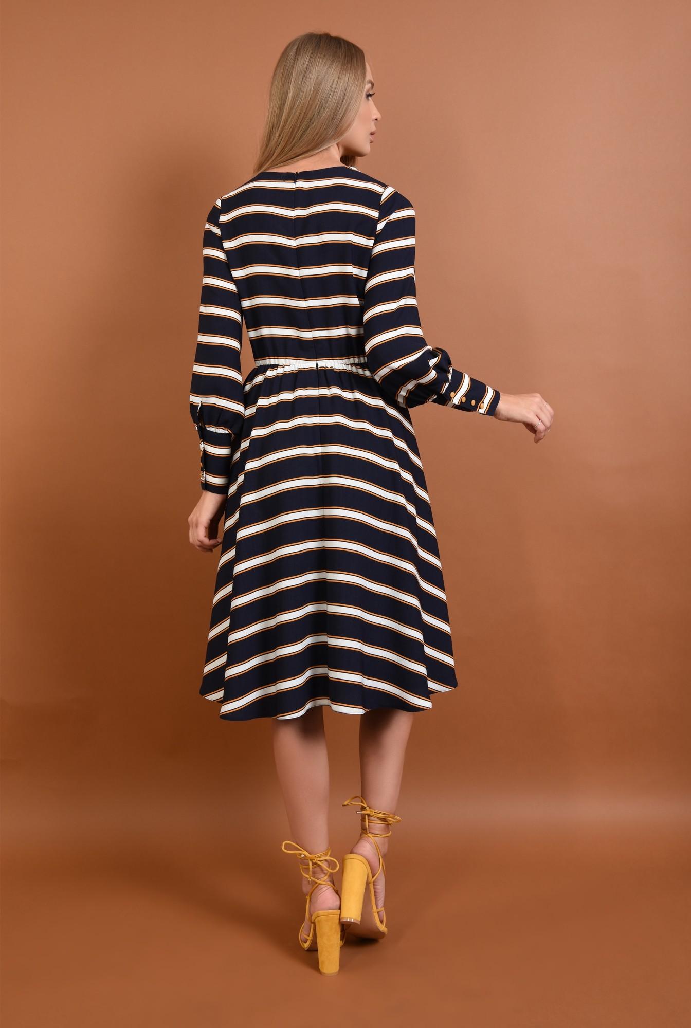 1 - 360 - rochie casual, bleumarin, midi, clos, cu dungi