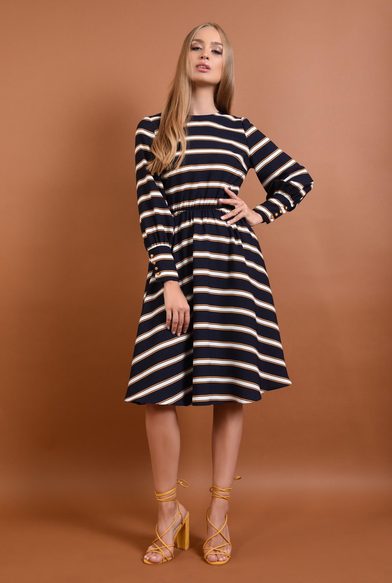 3 - 360 - rochie casual, bleumarin, midi, clos, cu dungi