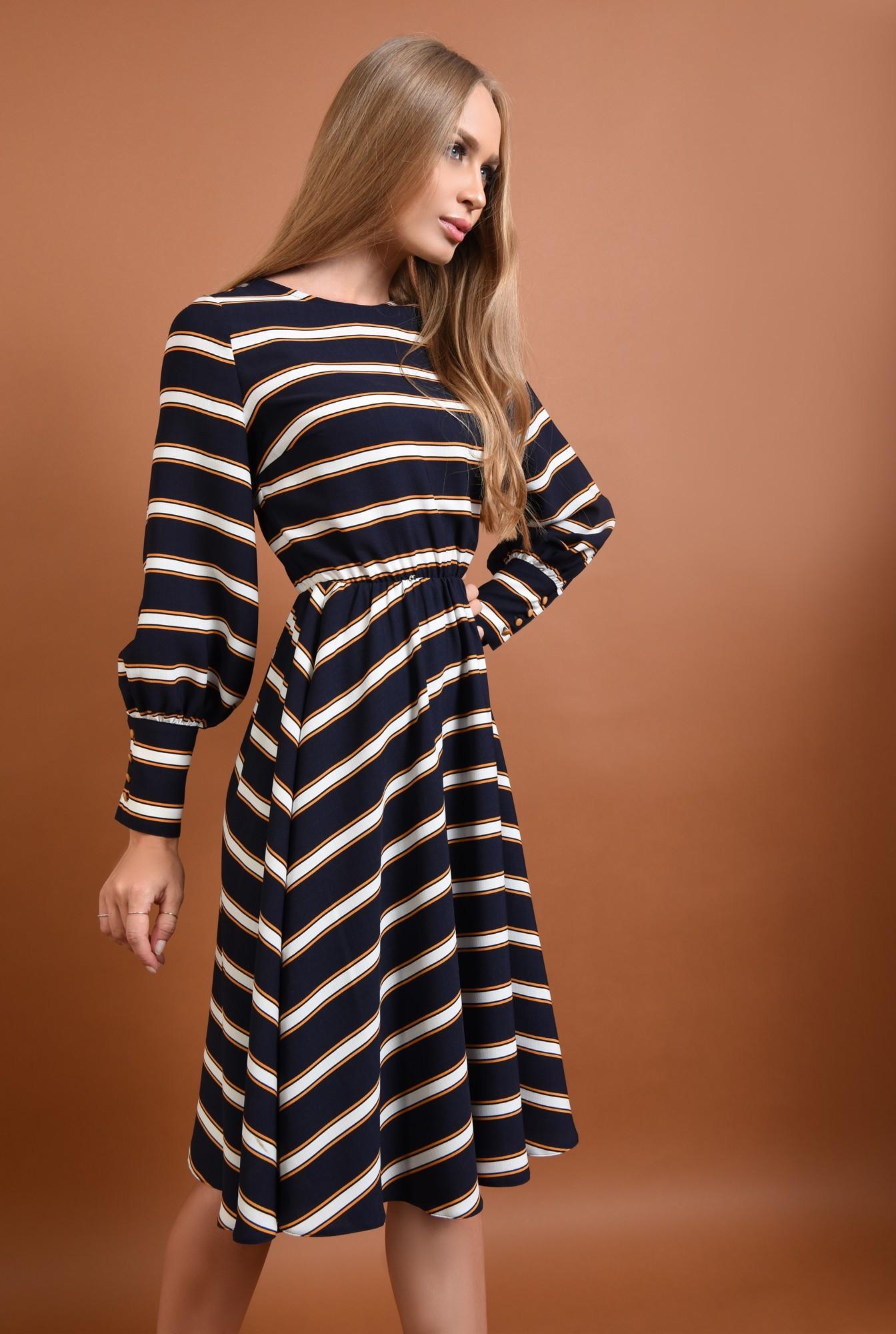 0 - 360 - rochie casual, bleumarin, midi, clos, cu dungi