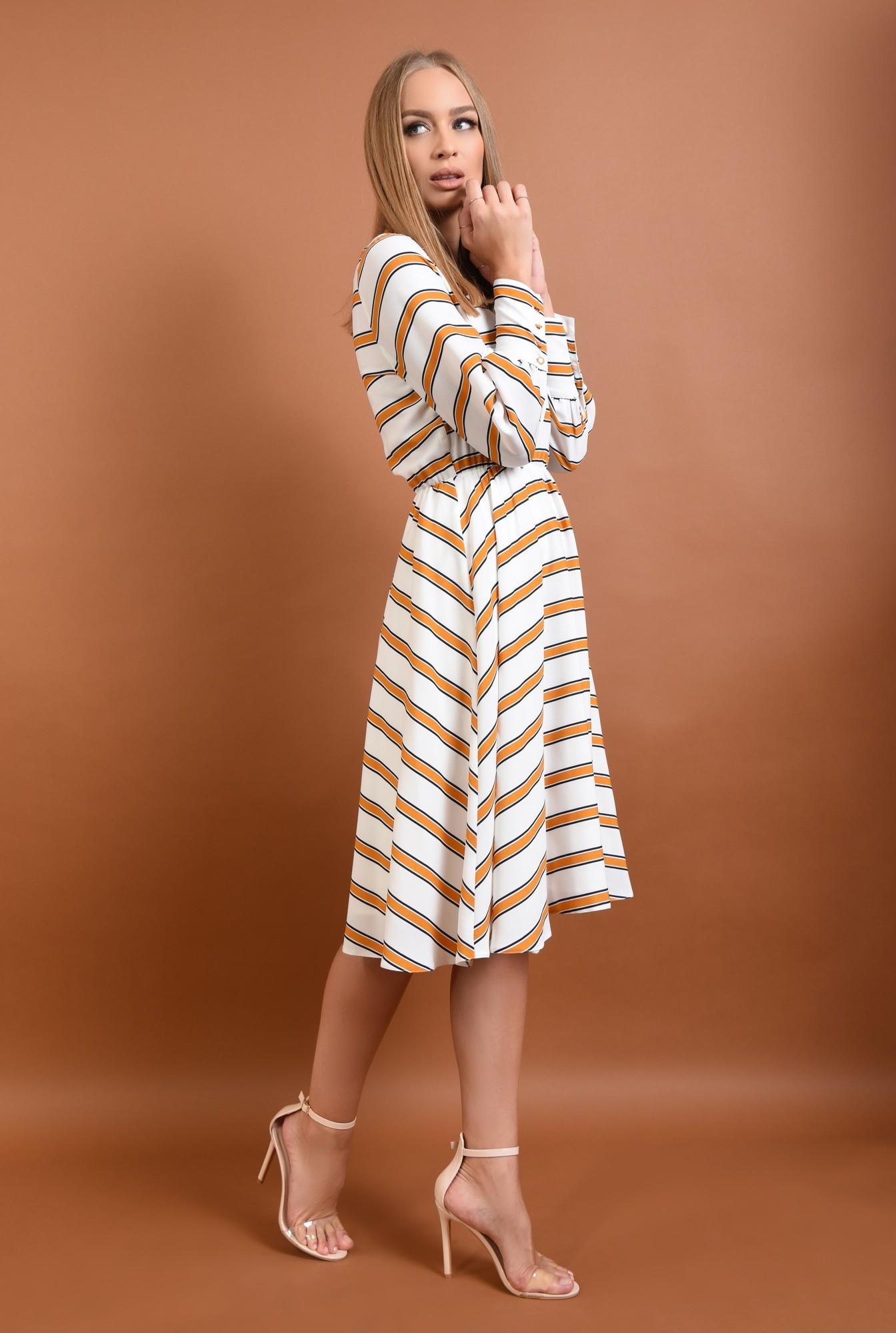 3 - 360 - rochie casual imprimata, alb, mustar, bie, cusatura in talie