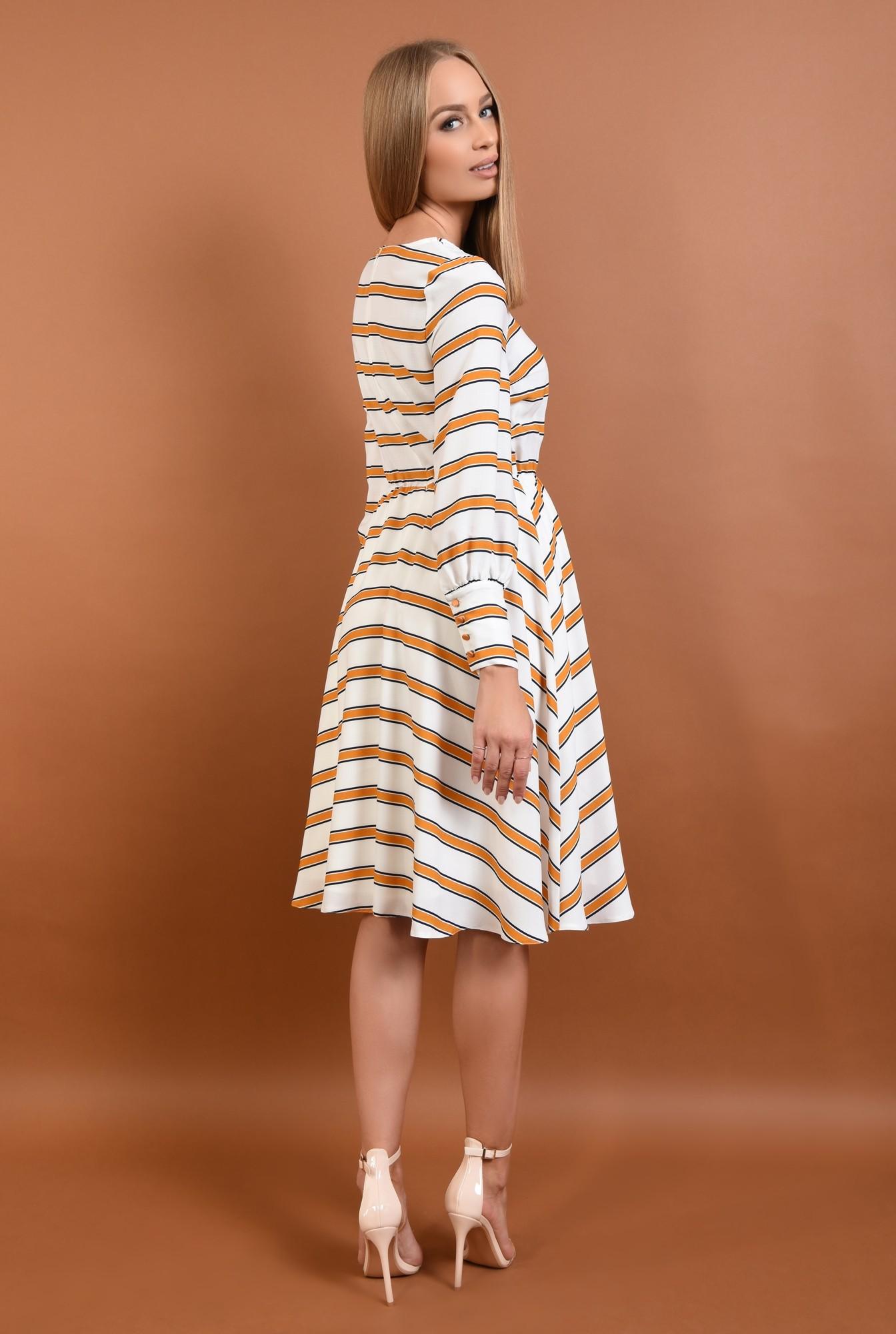 1 - 360 - rochie casual imprimata, alb, mustar, bie, cusatura in talie